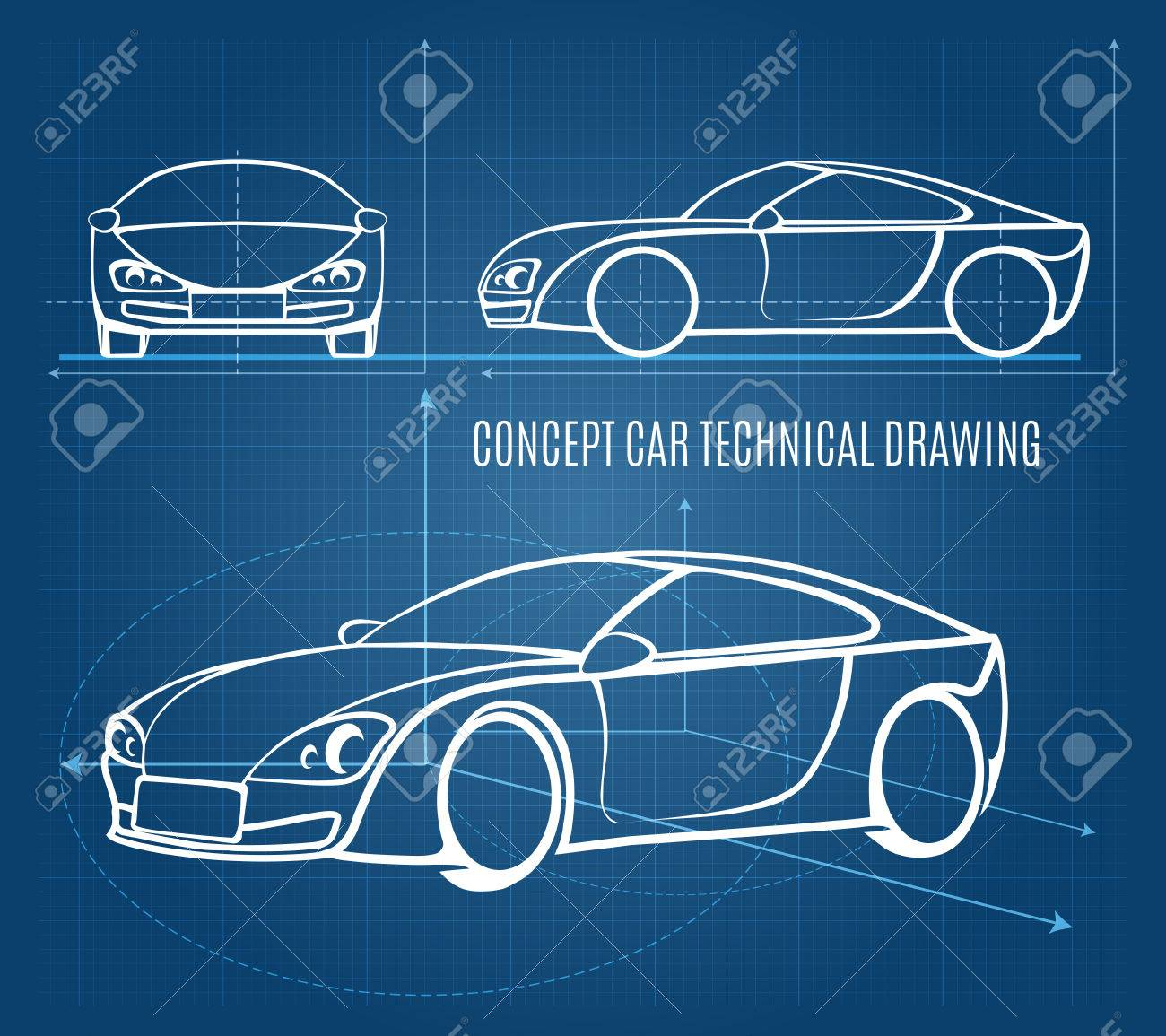 Concept Car Technical Drawing Royalty Free Cliparts, Vectors, And ...