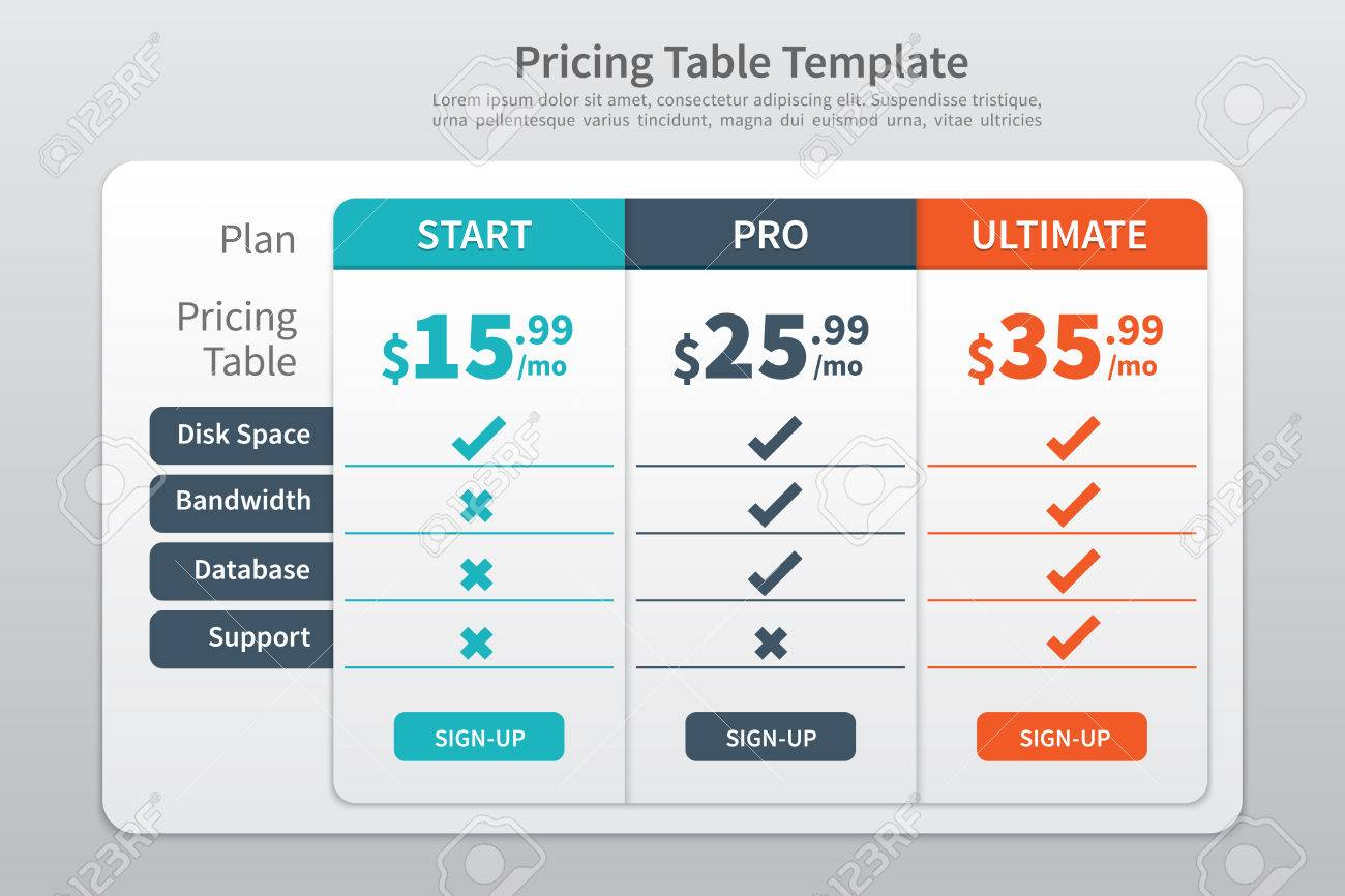 pricing table template graphic design stock vector 34568251