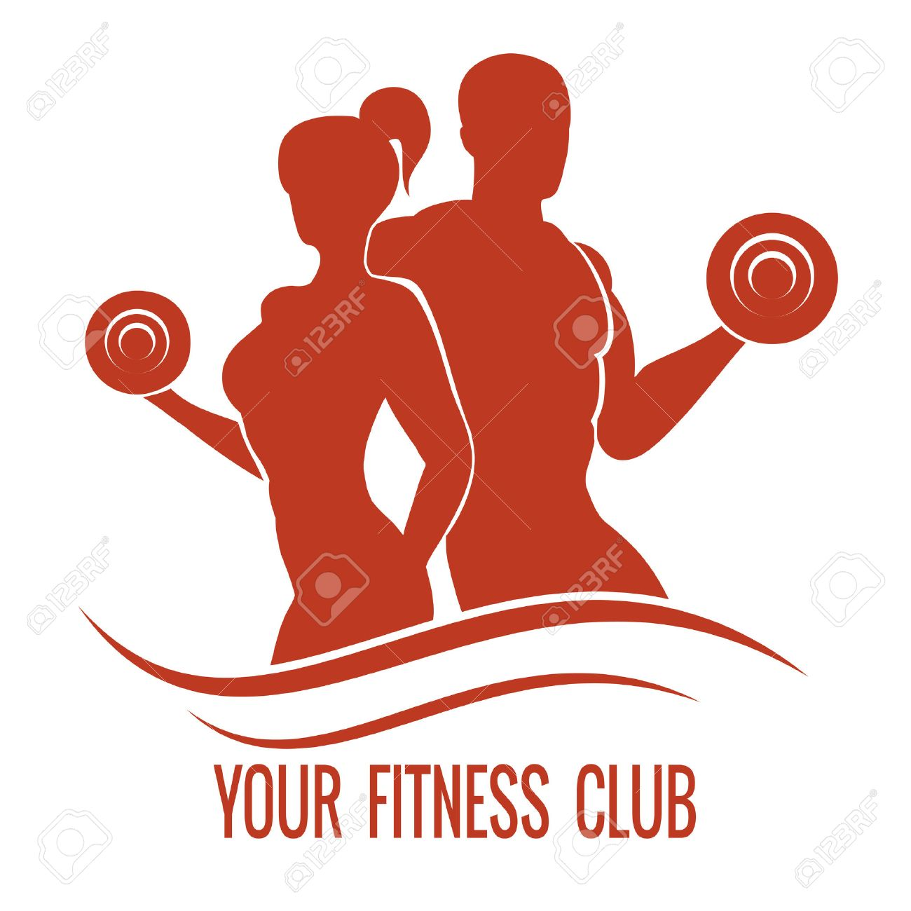 Fitness Logo With Muscled Man And Woman Silhouettes. Man And ... for Fitness Logo Vector Free Download  570bof