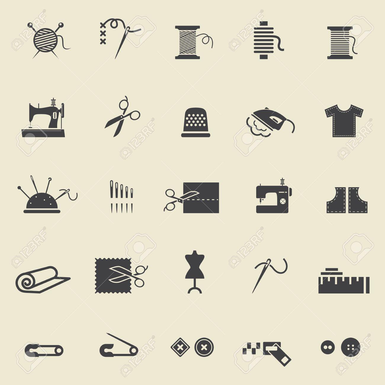 Näh-Ausrüstung Und Handarbeiten. Schwarze Symbole Zum Nähen ...