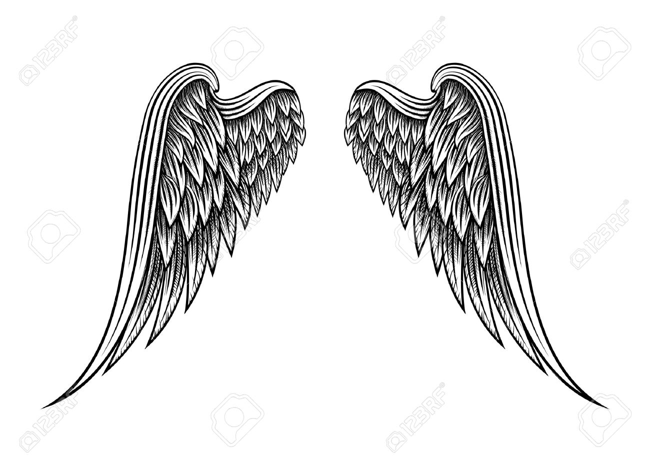 Aile D Ange dessinés à la main ailes d'ange clip art libres de droits , vecteurs