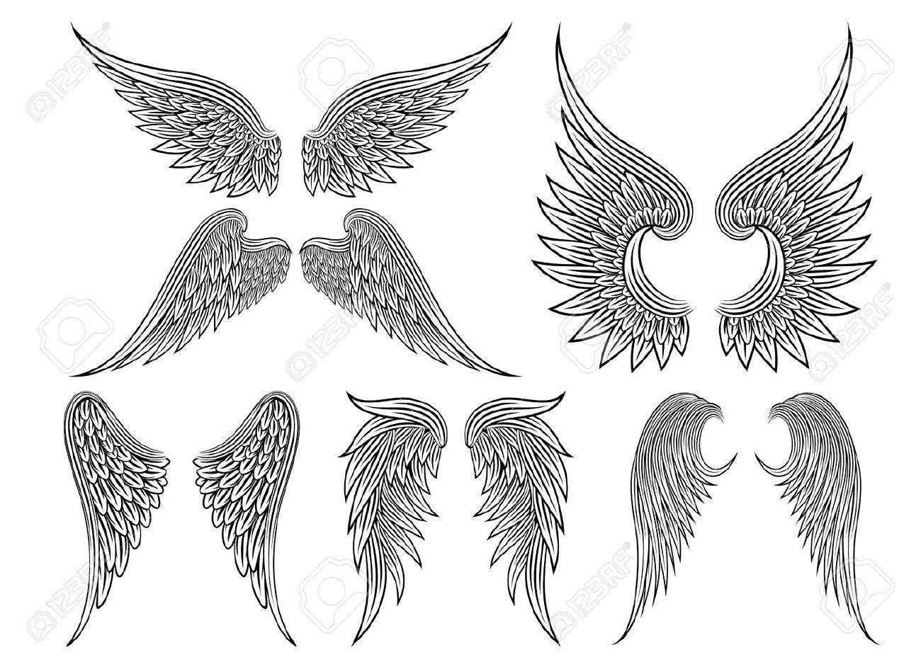 vector ailes héraldiques ou ange clip art libres de droits