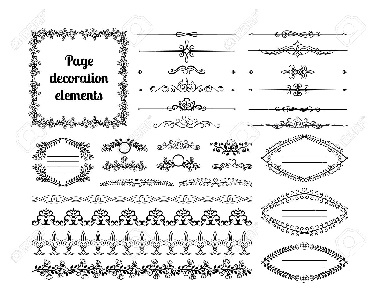 Elementos De Diseño Caligráfico Para Decoración De Página. Divisores ...