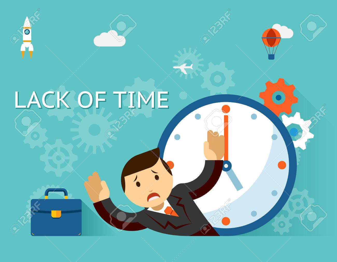 Timemanagement. Lack of time concept. Businessman and clock - 36808003