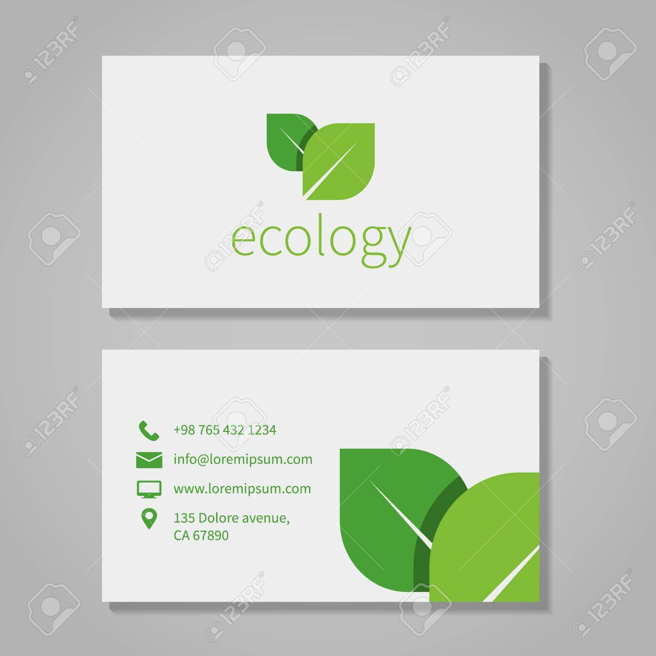 Ecological or eco energy company business card template with ecological or eco energy company business card template with green leaves stock vector 36808021 reheart Image collections
