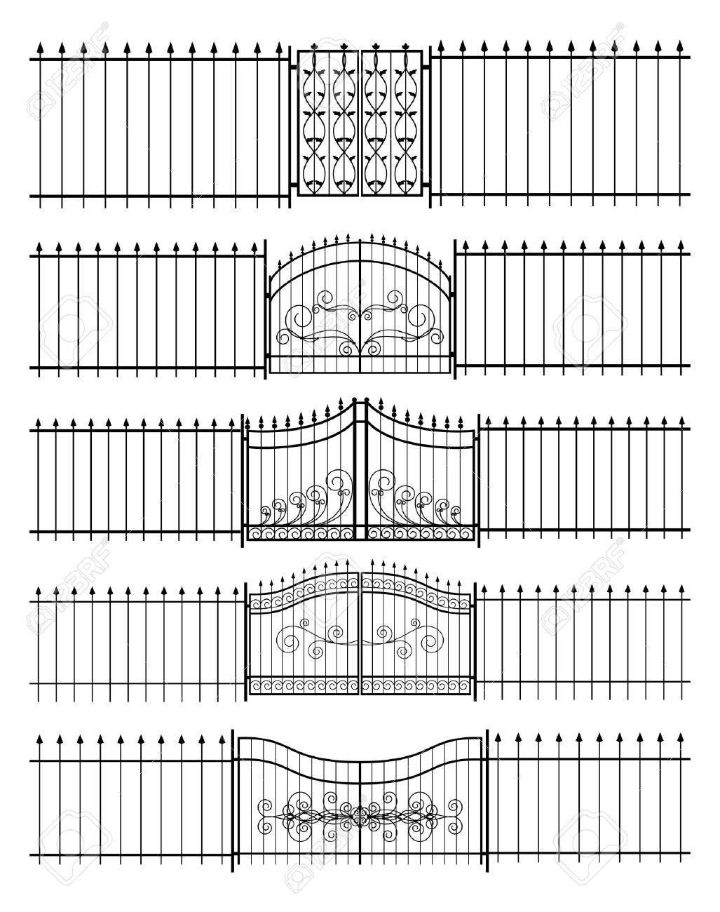 Gates Und Eisen Zaun Horizontal Nahtlose Lizenzfrei Nutzbare