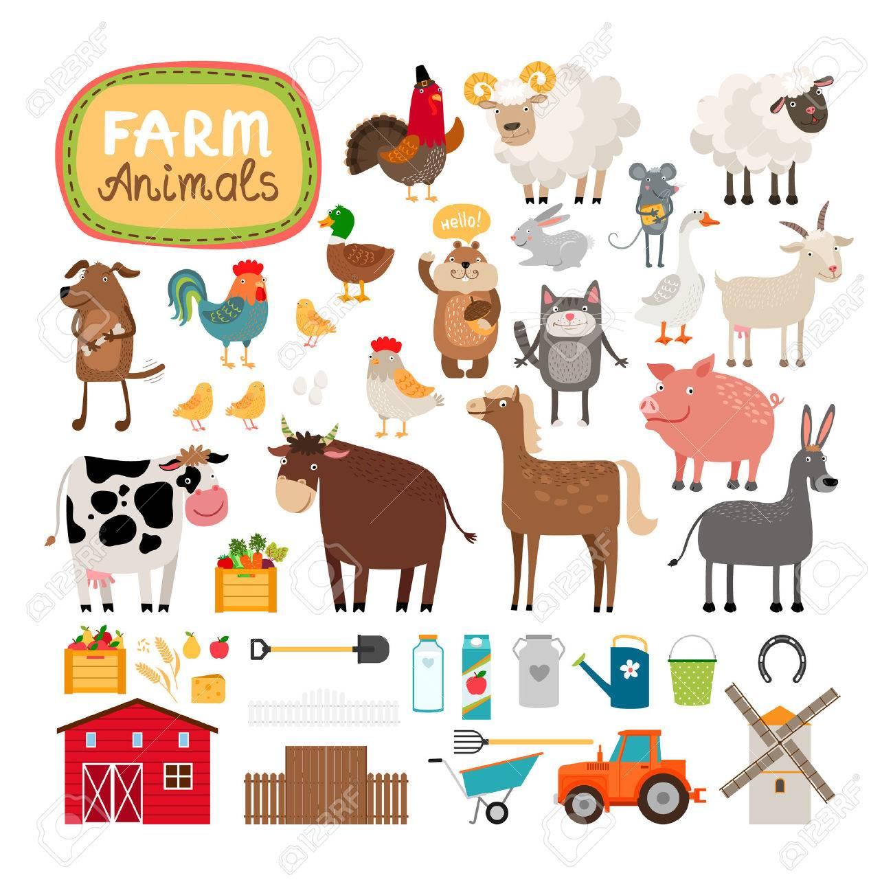Vector farm animals Stock Vector - 37489888