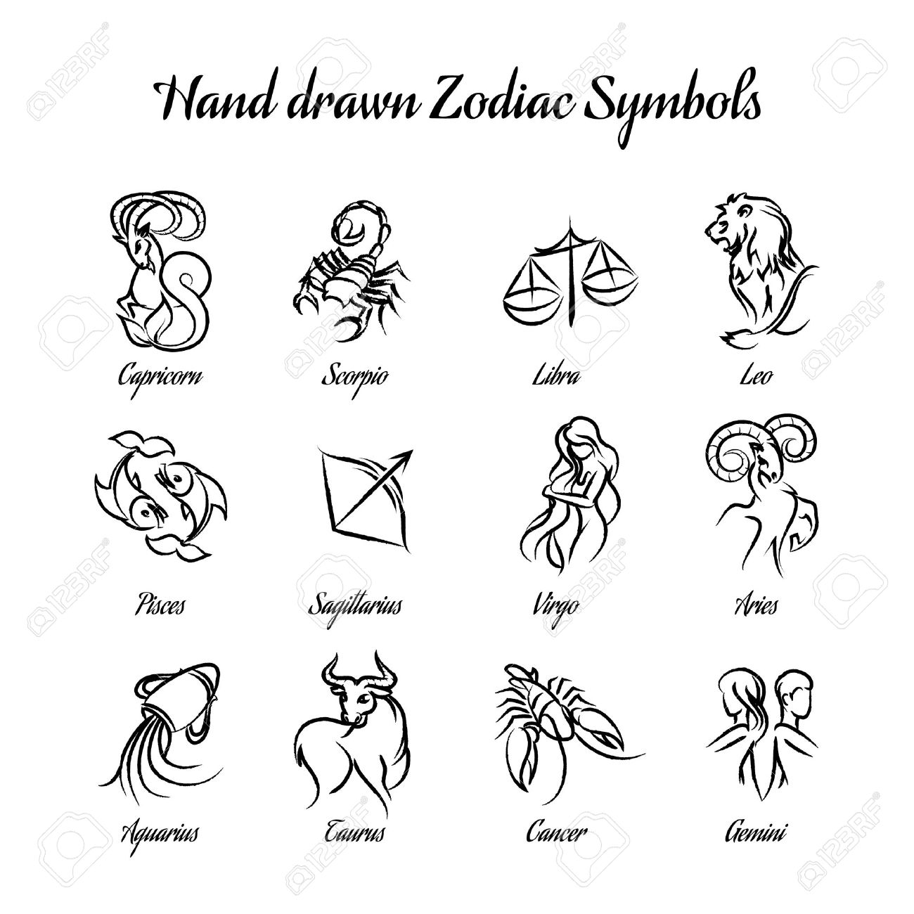 Hand Drawn Astrological Zodiac Symbols Or Horoscope Signs Royalty