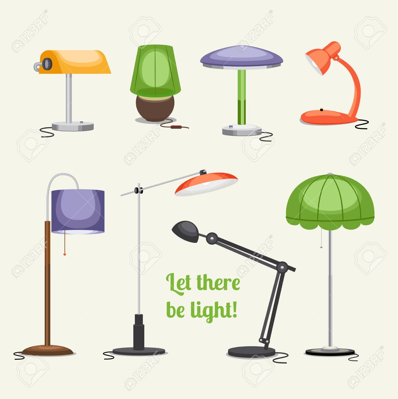 Furniture. Floor lamp and table lamps - 37689956