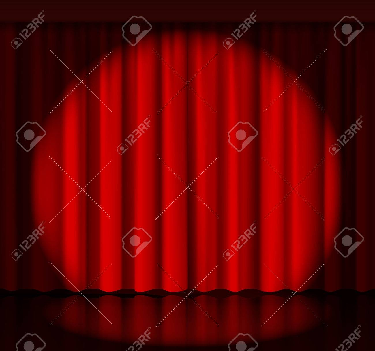 Stage curtains spotlight - Spotlight On Stage Curtain Stock Vector 37690091