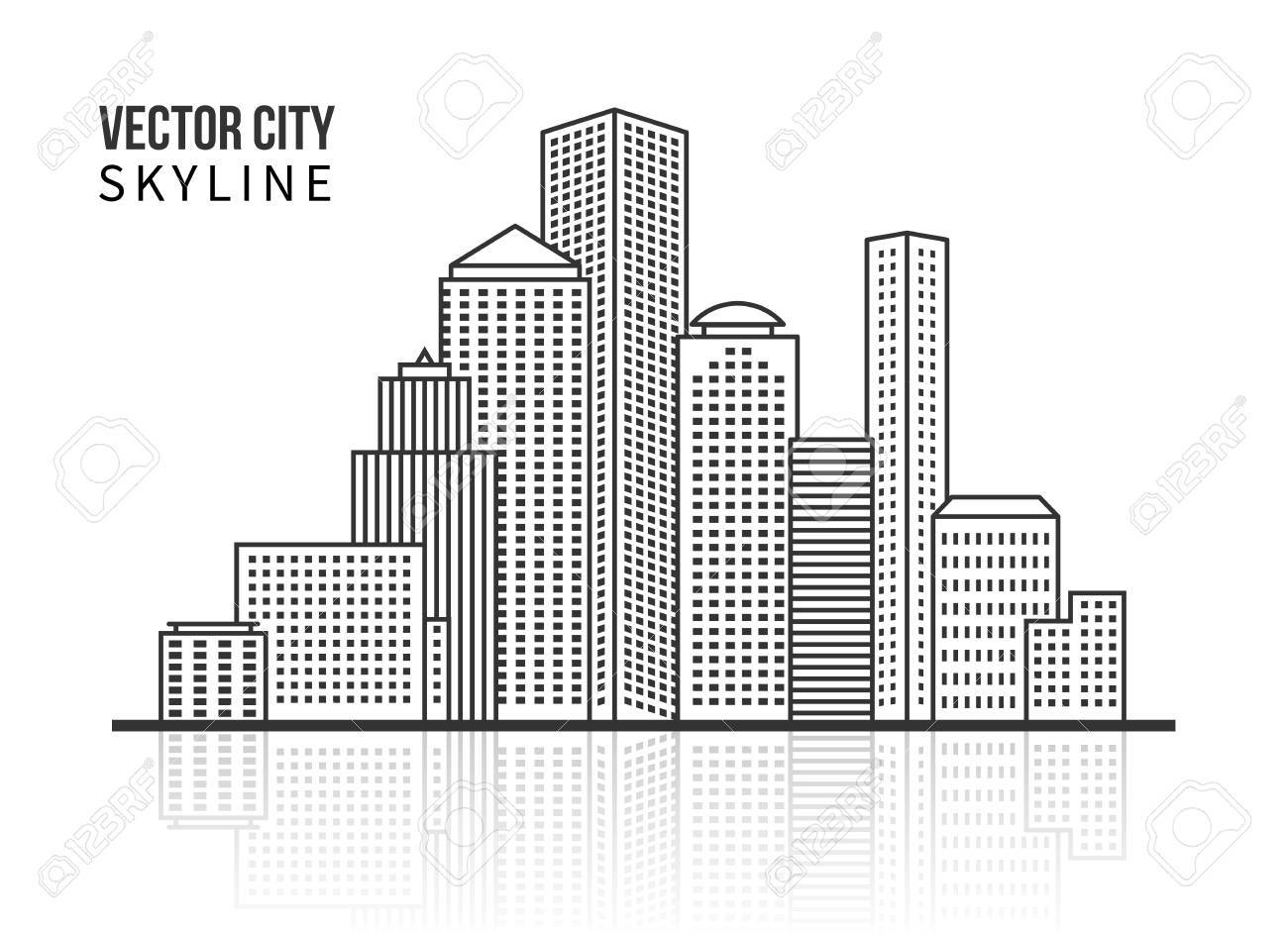 City skyline silhouette in line style - 37844659