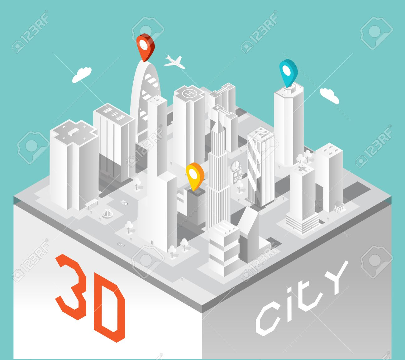 Paper 3d city  Isometric buildings landscape