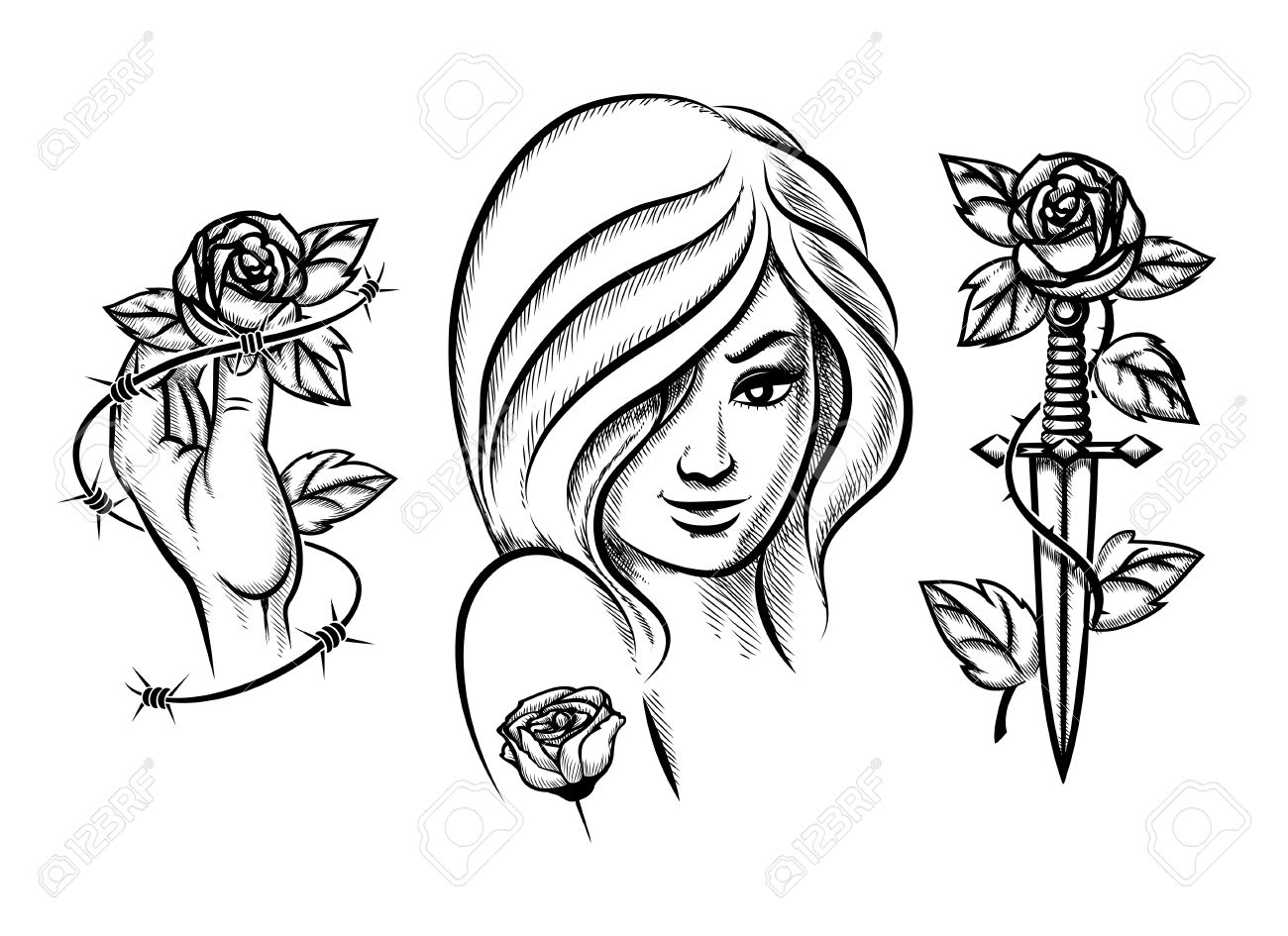 Tattoos. Beauty Girl, Knife, Rose And Barbed Wire Royalty Free ...