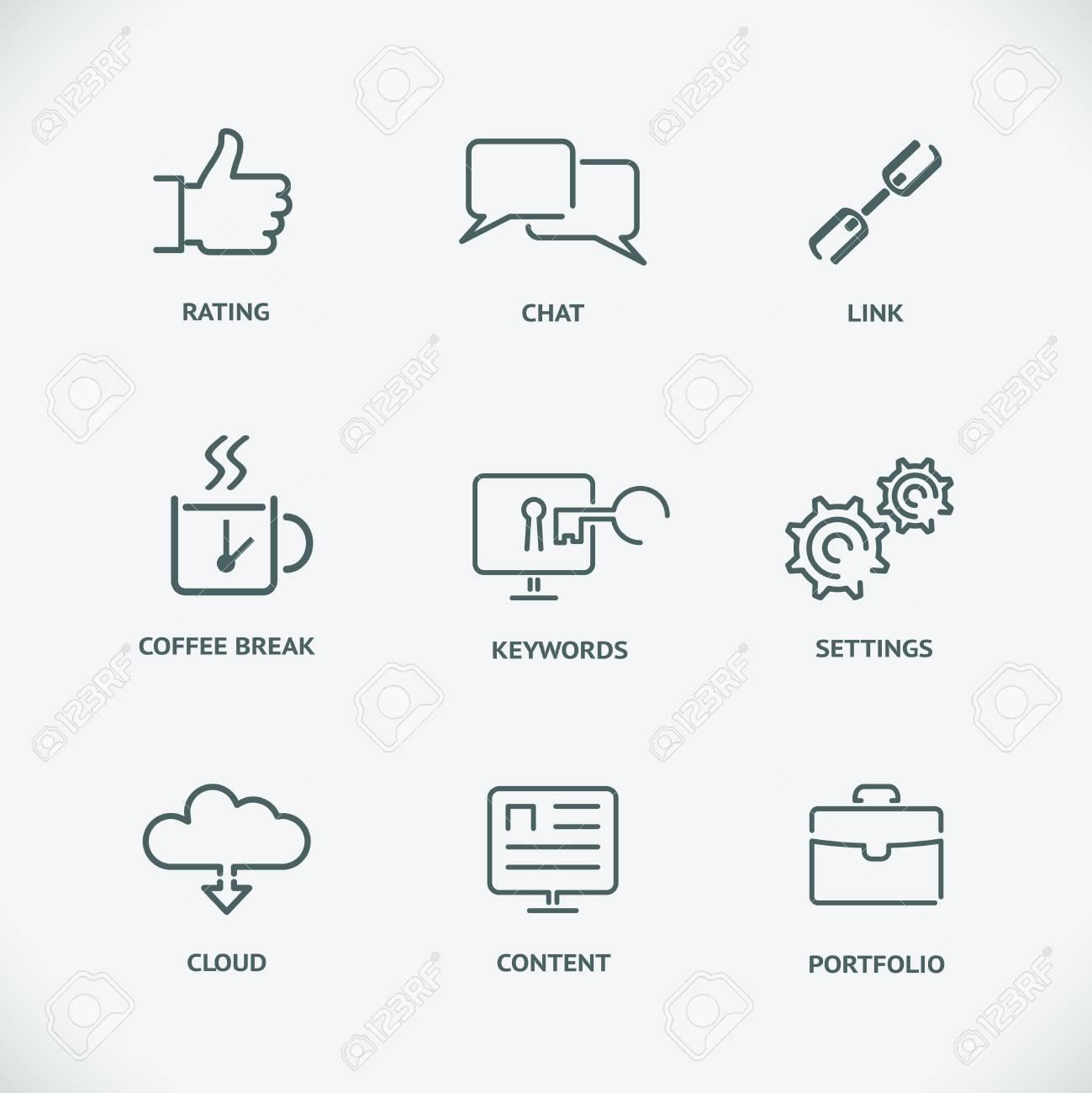 Modern Line Seo Icons Set Of Seo Service Symbols Website Search
