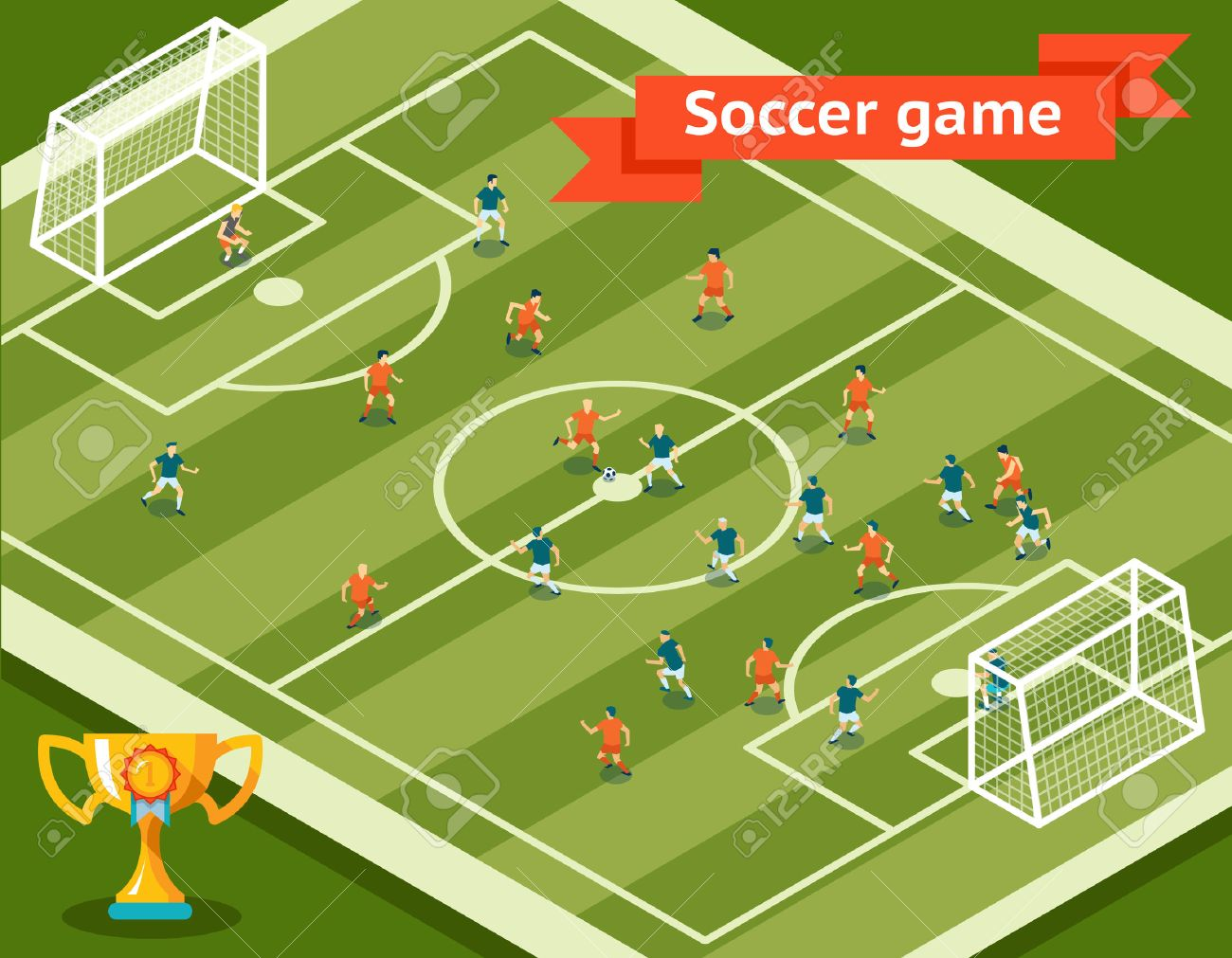 Soccer Game Football Field And Players Royalty Free Cliparts Vectors And Stock Illustration Image 38425446