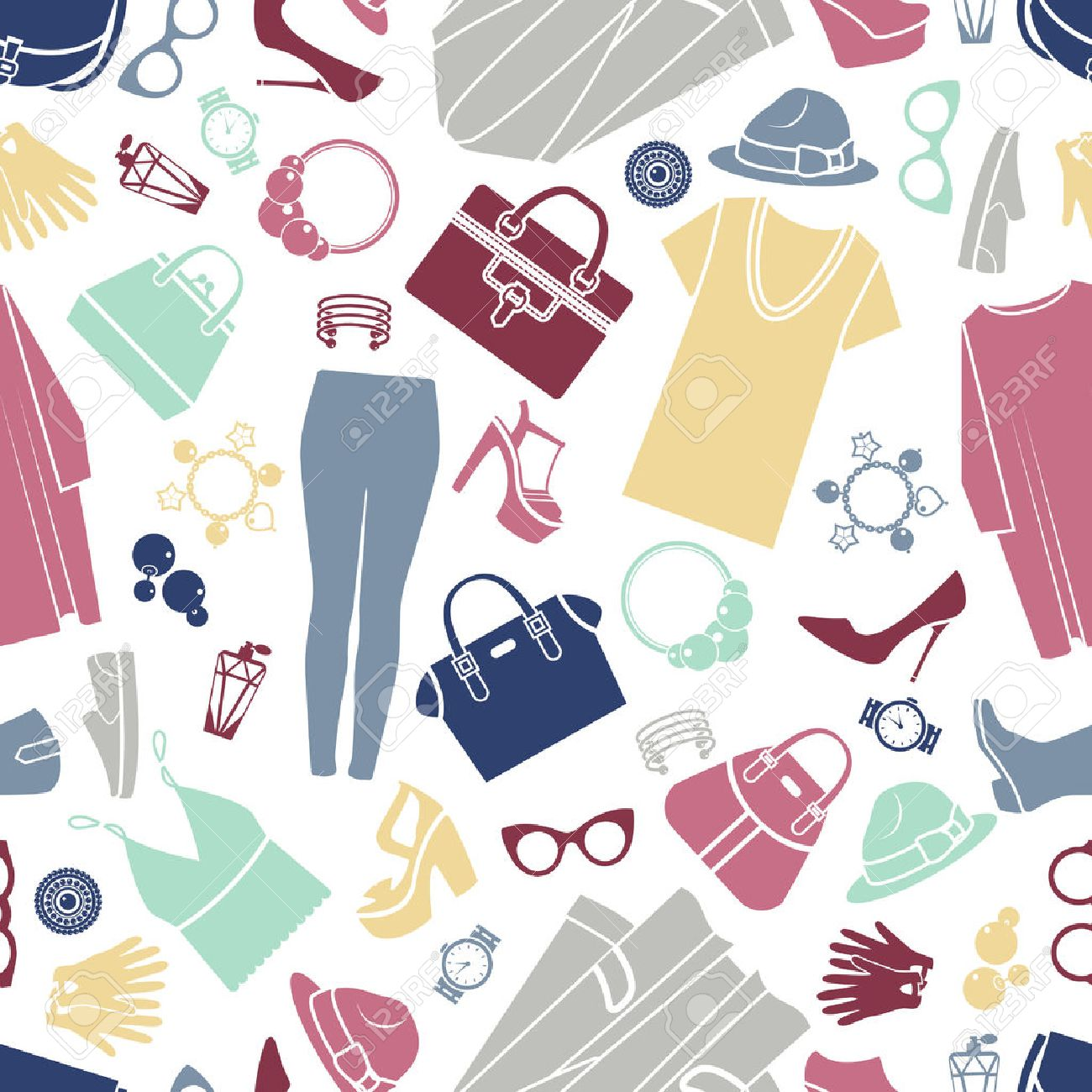 Fashion shopping icons seamless vector background - 38425527