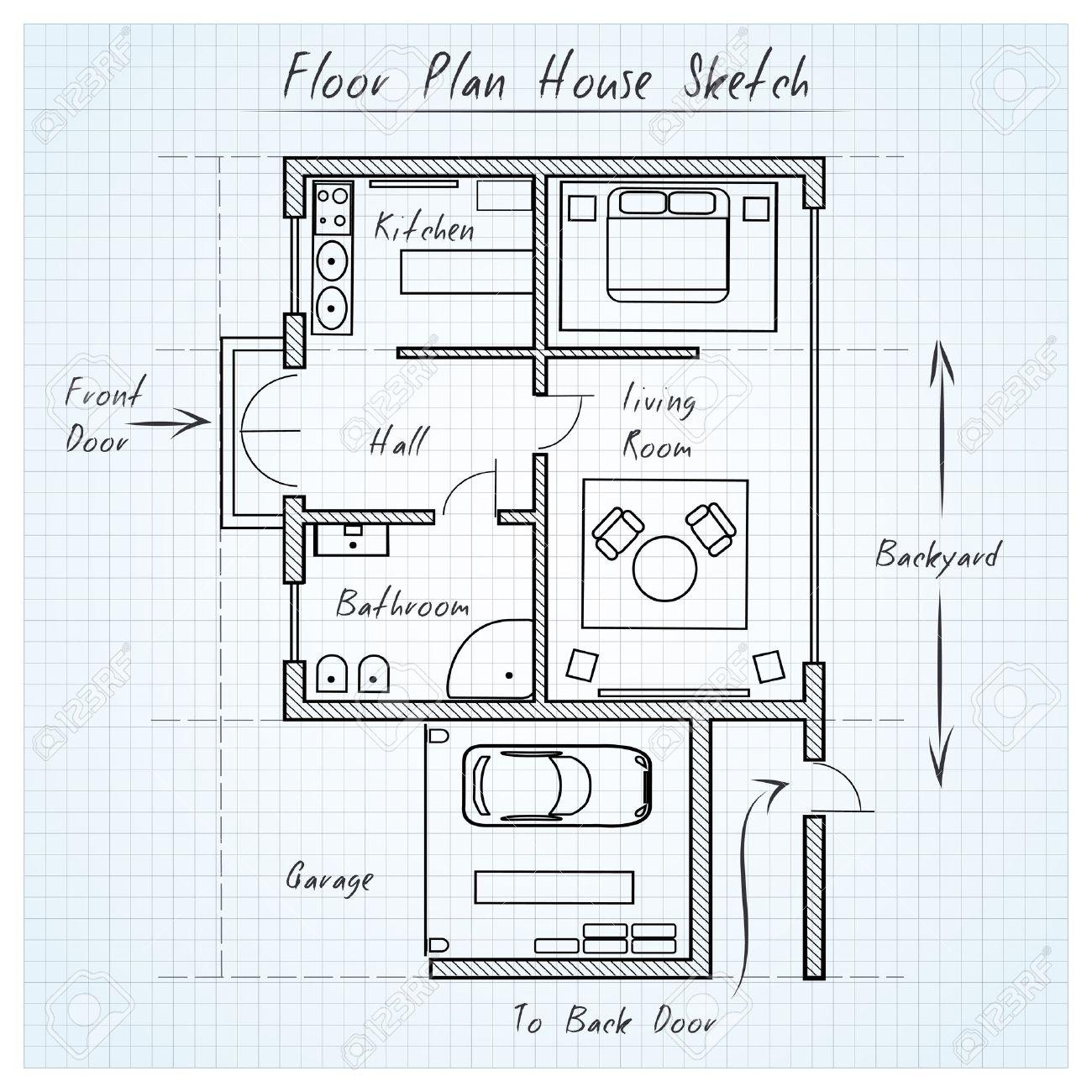 Floor Plan House Sketch Stock Vector   38425631