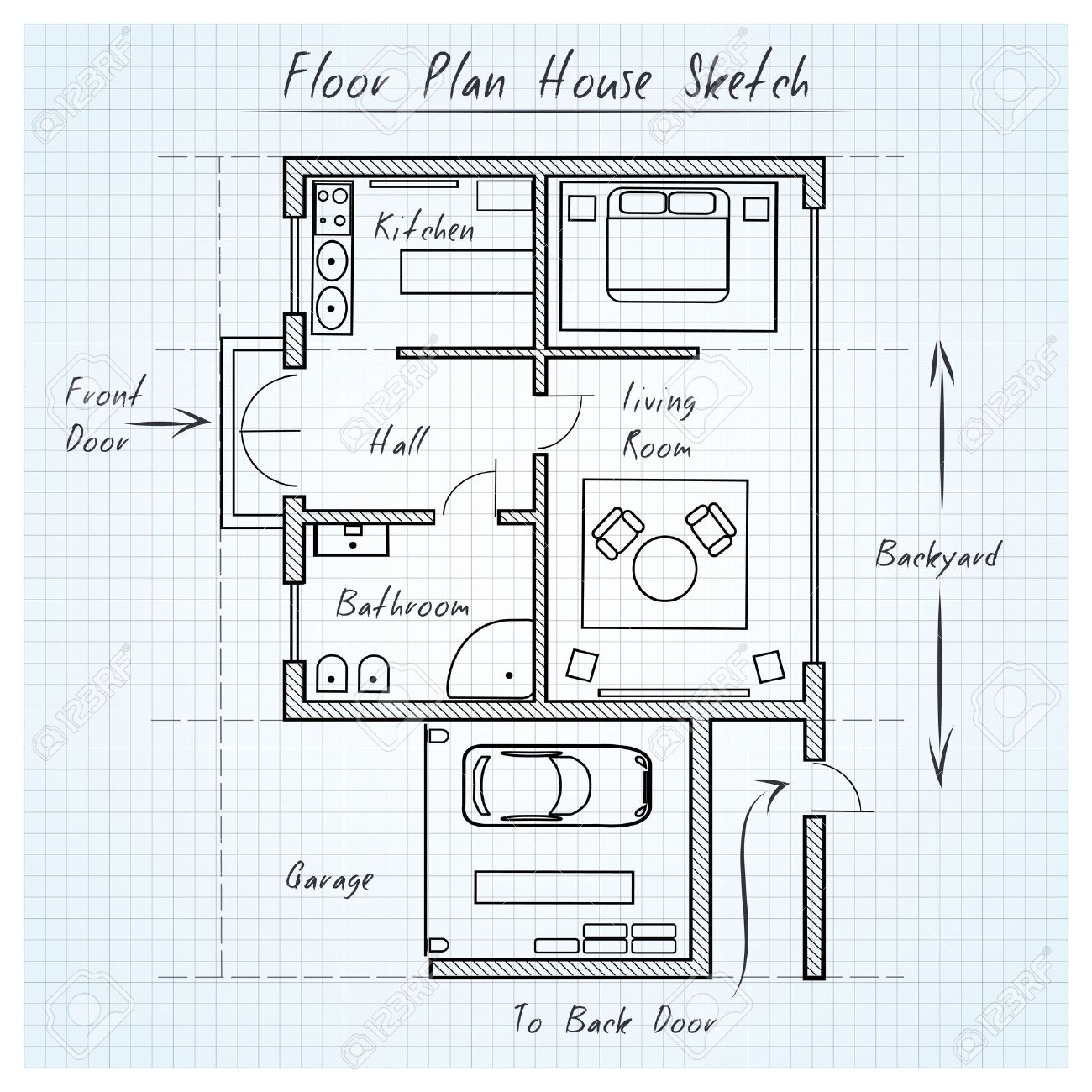 Floor Plan House Sketch Royalty Free Cliparts, Vectors, And Stock ...