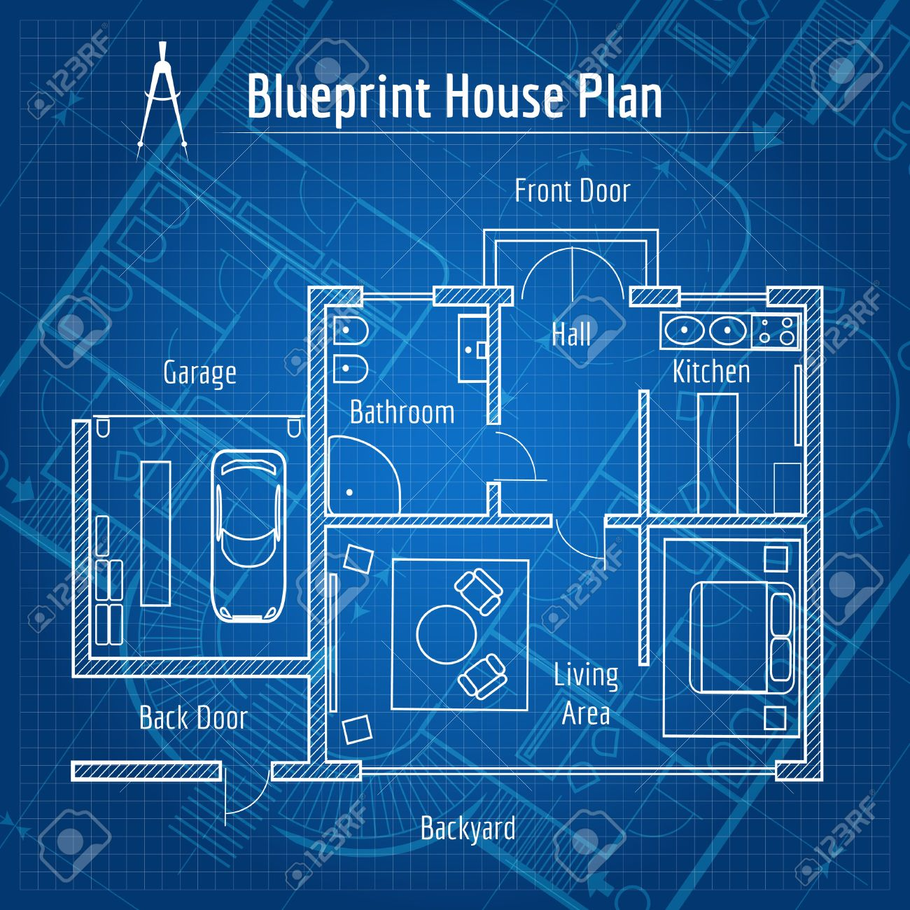 Blueprint house plan royalty free cliparts vectors and stock blueprint house plan stock vector 38688198 malvernweather Image collections