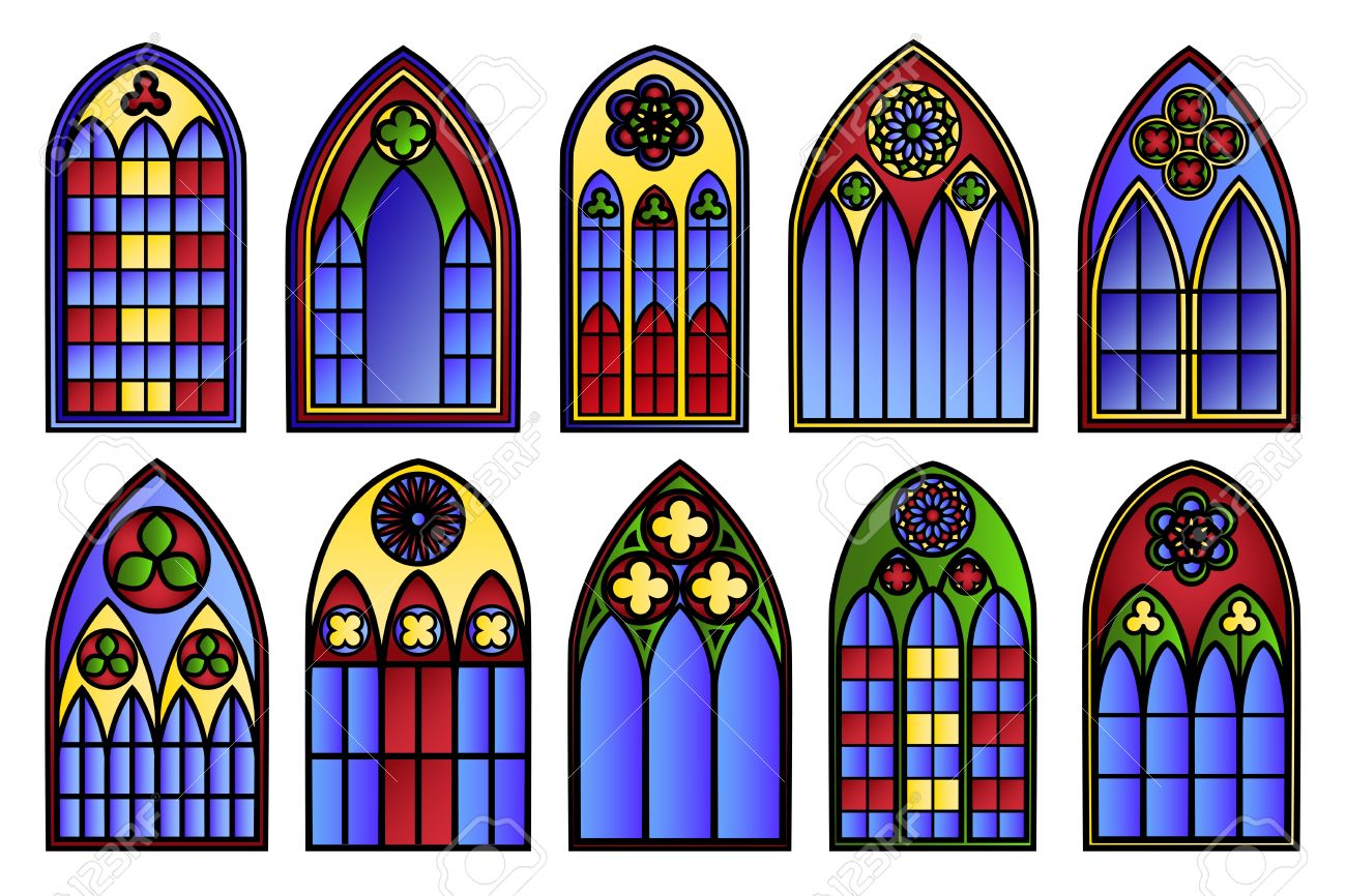 Vector Stained Glass Windows Set Stock