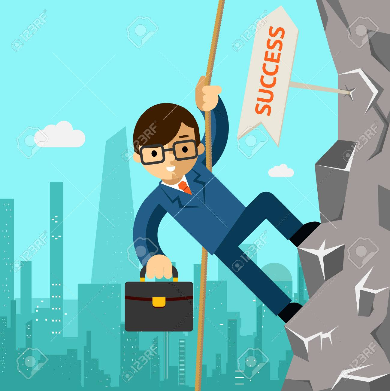 Way success. Businessman aspires to leadership - 38901898