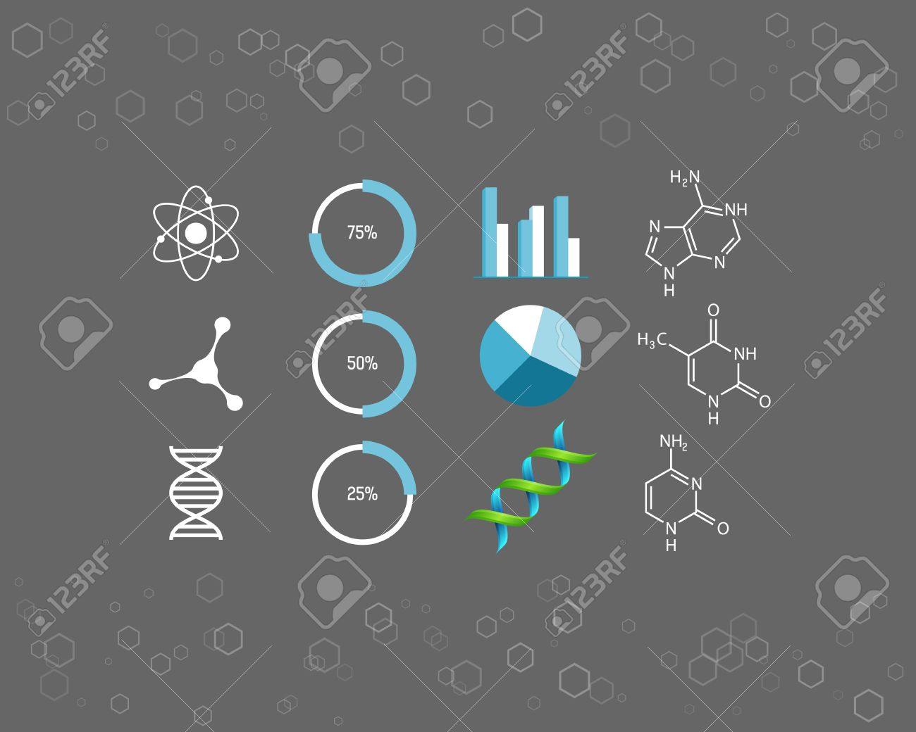 Science icons and chemical element formulas - 38903174