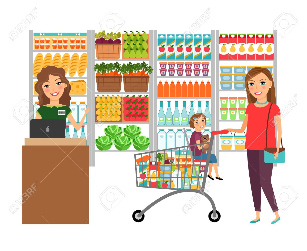 woman shopping in grocery store royalty free cliparts vectors and rh 123rf com grocery storefront clipart grocery store aisle clipart