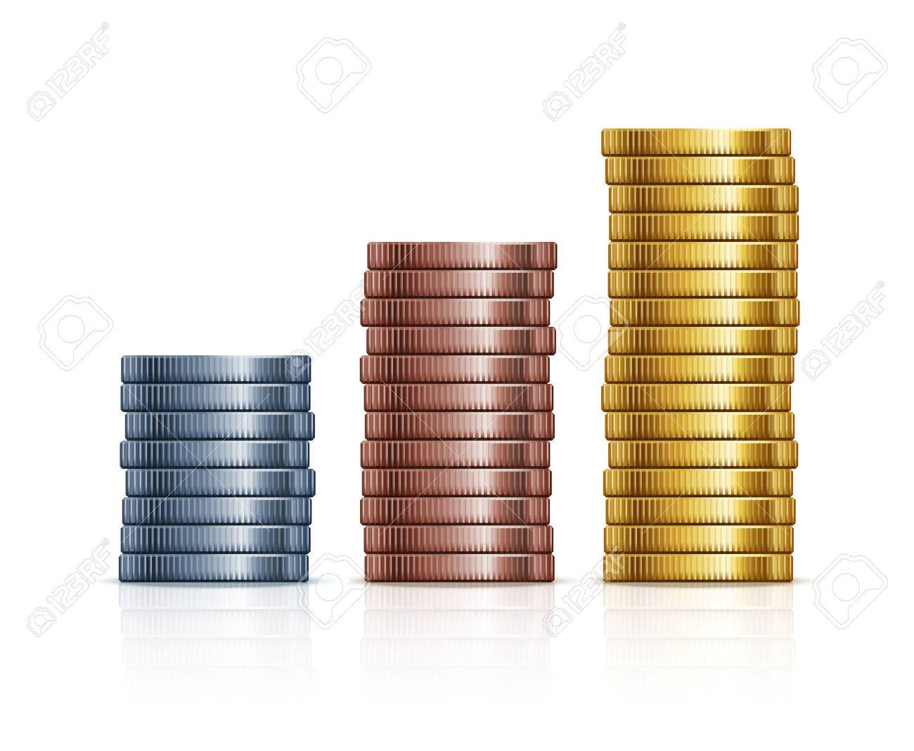 Gold And Copper : Stacks of coins gold silver and copper coins royalty free