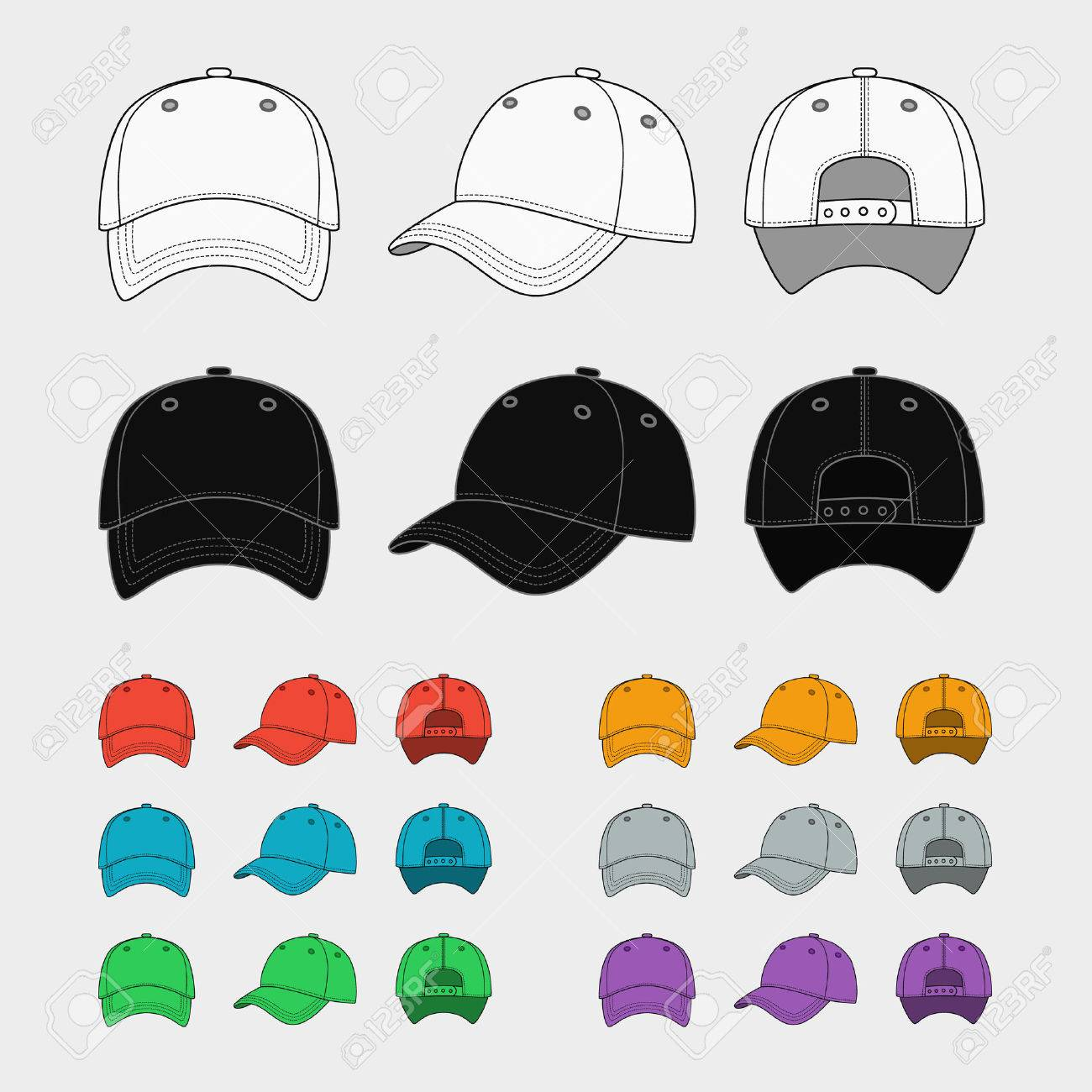 Baseball Cap Vector Template Royalty Free Cliparts, Vectors, And ...