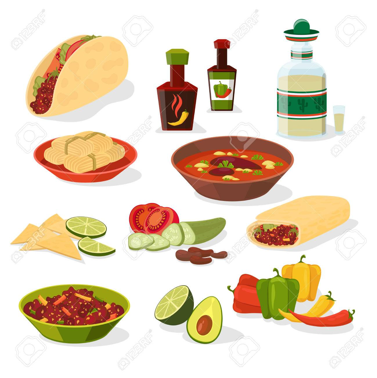 Mexican Food Icons Set Royalty Free Cliparts, Vectors, And Stock ...