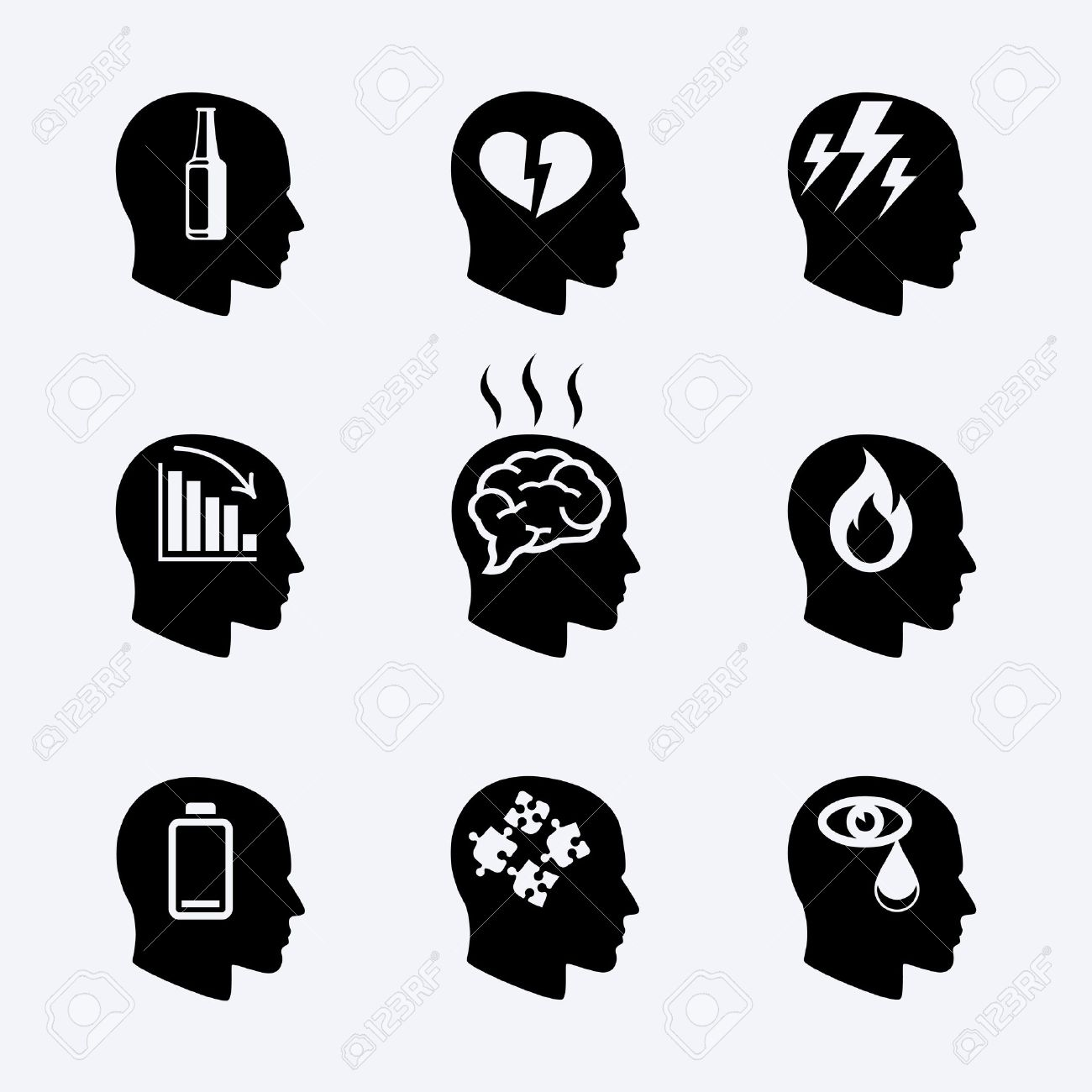Depression, stress concept or mental health icons - 40787300