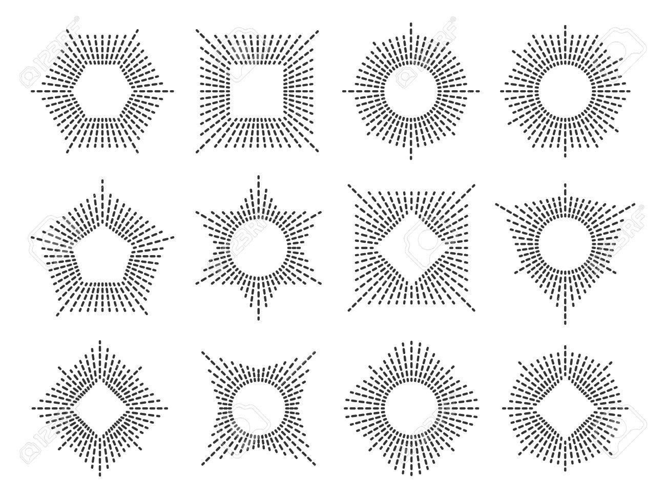Línea Conjunto De Marcos Monograma Ilustraciones Vectoriales, Clip ...