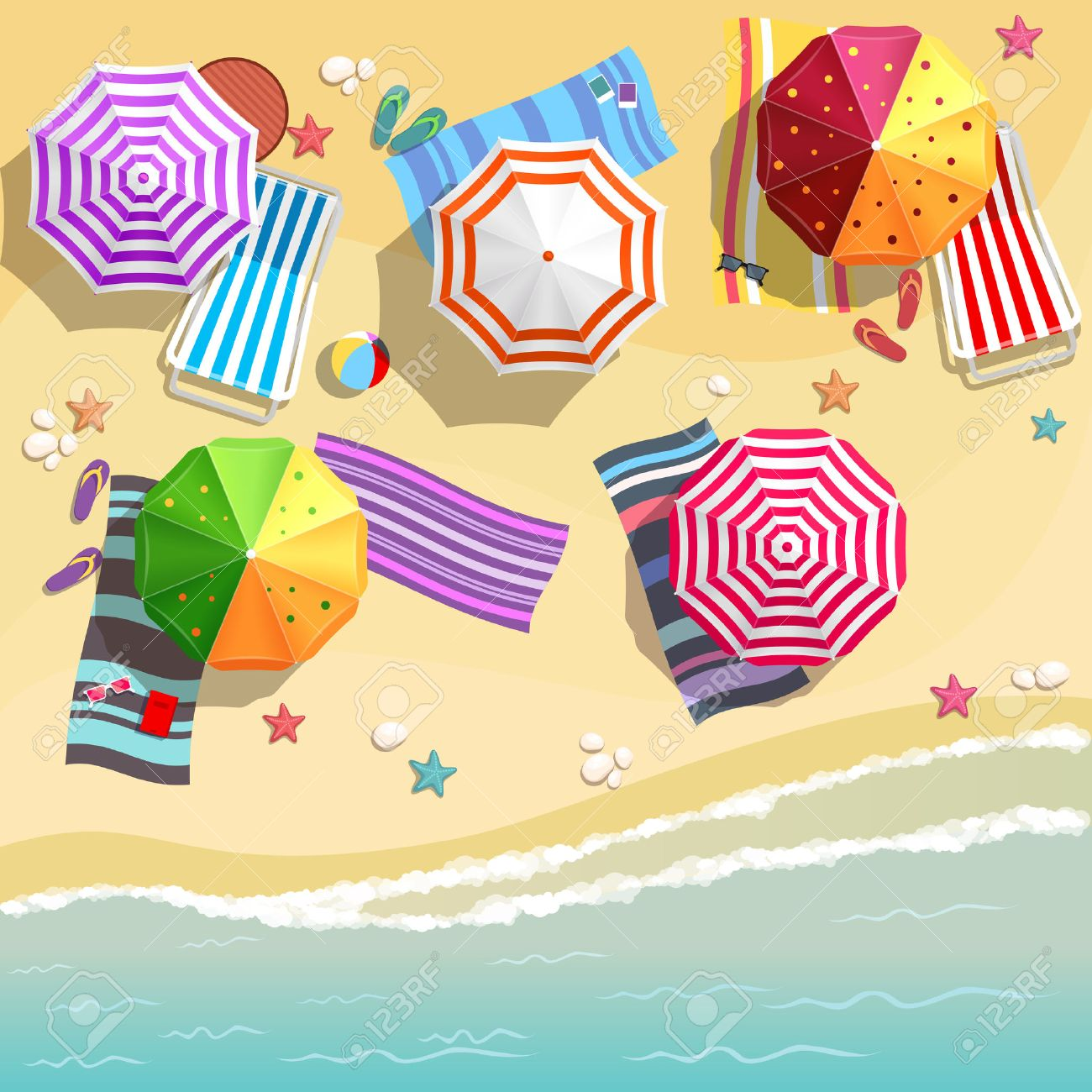 Aerial view of summer beach in flat design style Stock Vector - 41250685