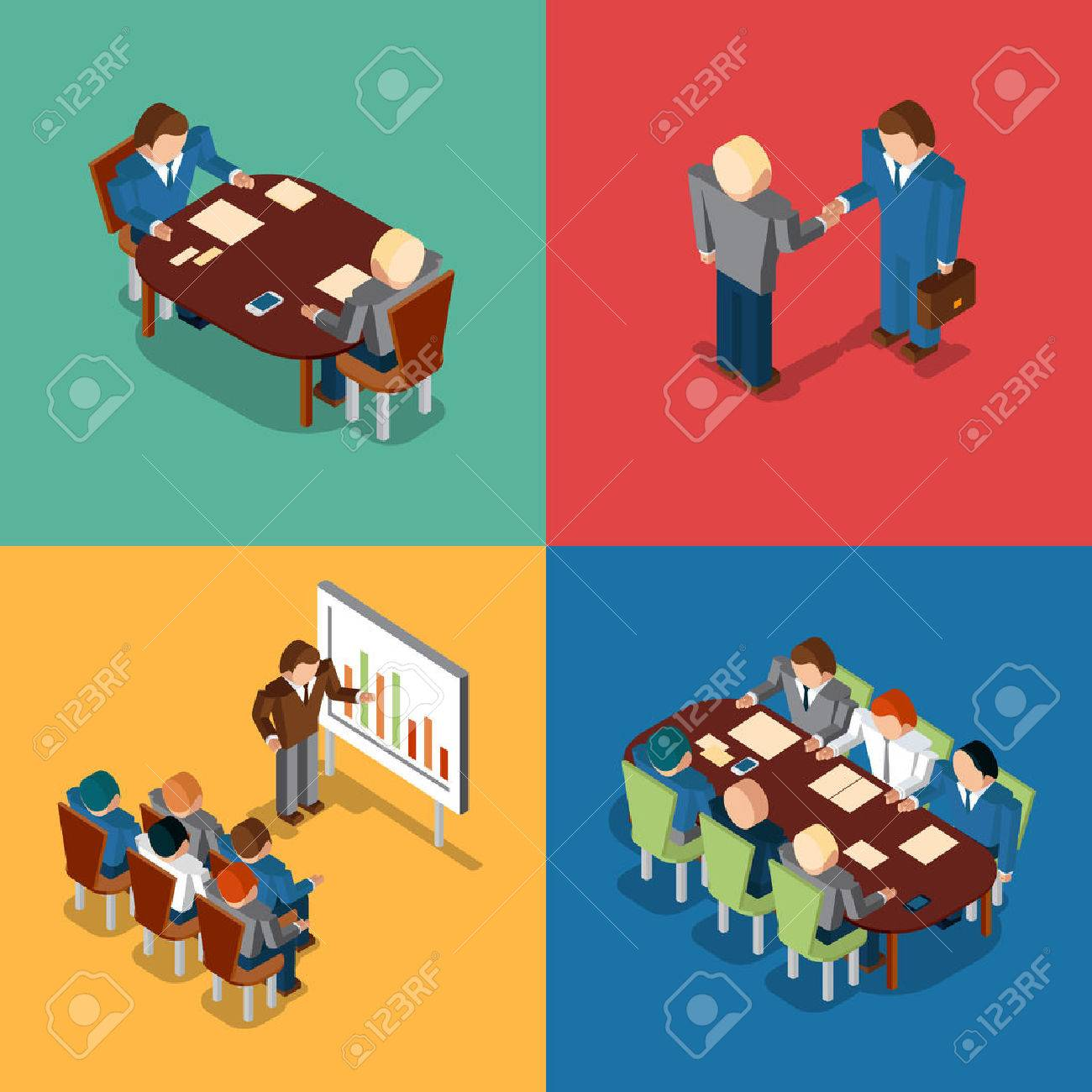 isometric 3d business people icons meeting and job interview meeting and job interview deal handshake and presentation