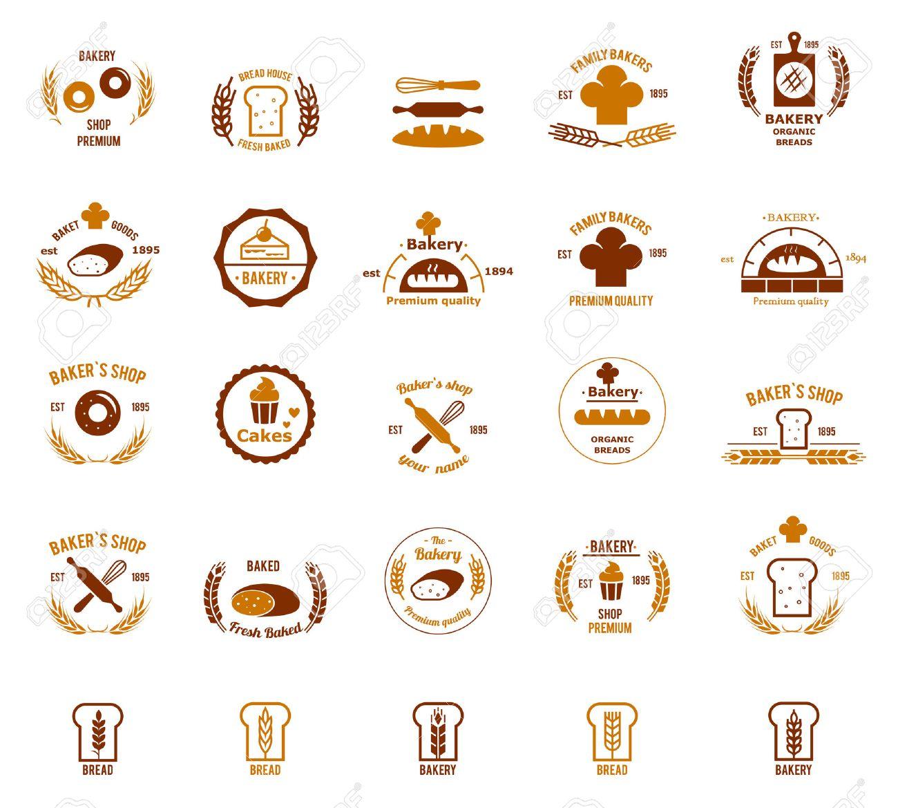 ベクトルのパン屋さんのロゴを設定します パンやケーキ 料理店 のイラスト素材 ベクタ Image