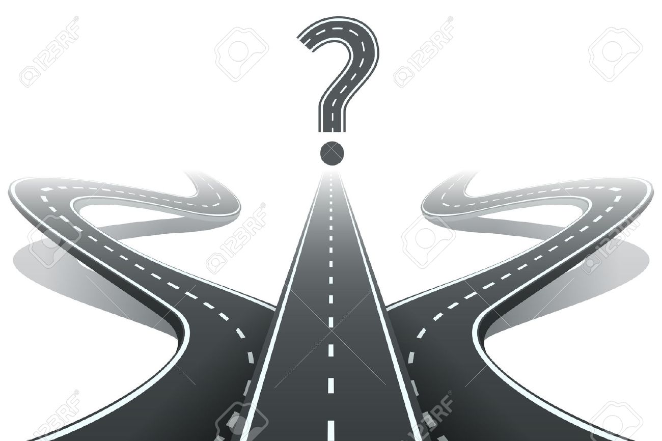 Three Roads And Question Mark. Choosing The Right Path Concept ...