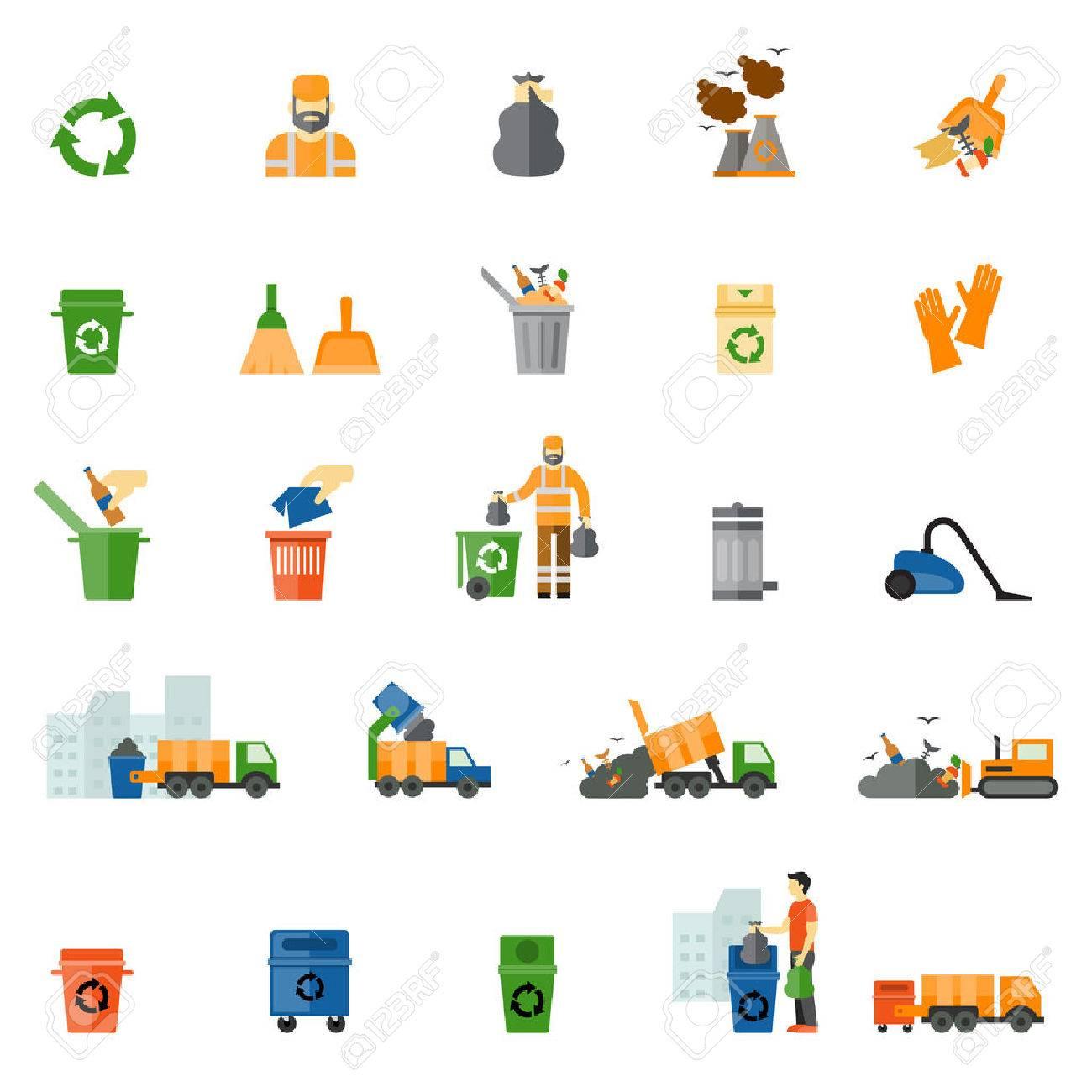Garbage and trash flat icons set - 41251377