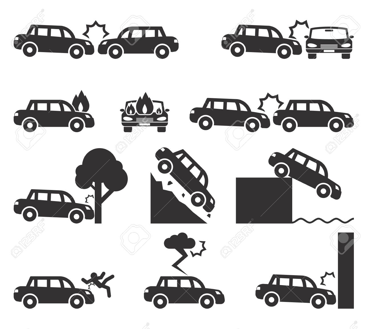 Car Crash And Accidents Icon Set Royalty Free Cliparts, Vectors, And ...