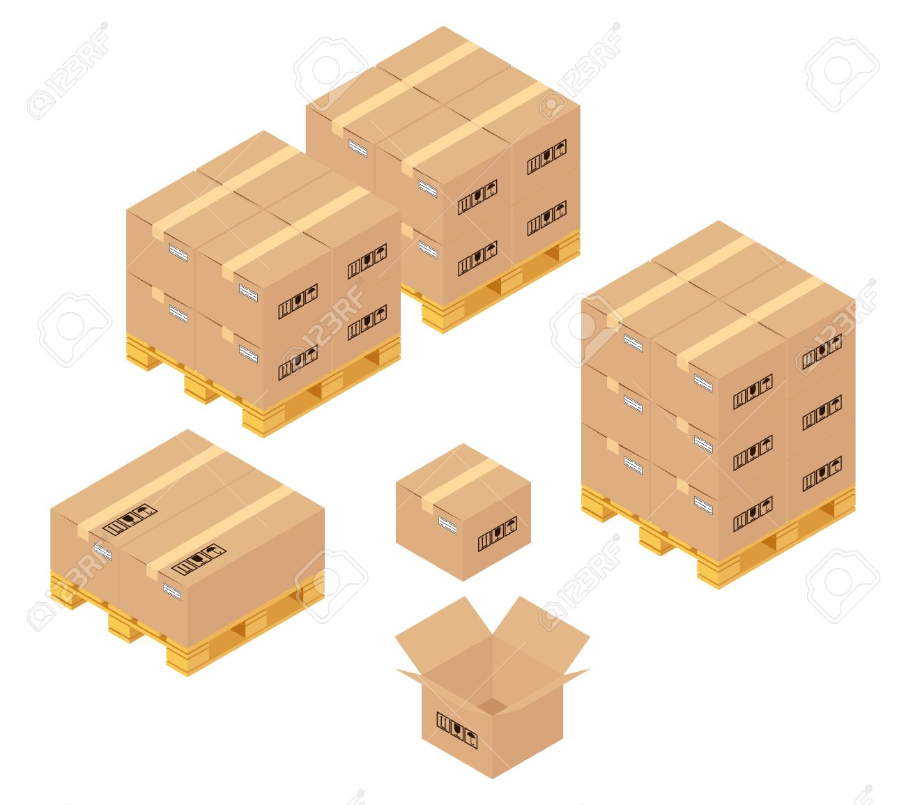 Cardboard Boxes In Warehouse. Storage, Delivery And Logistics Services.  Transportation And Warehouse,