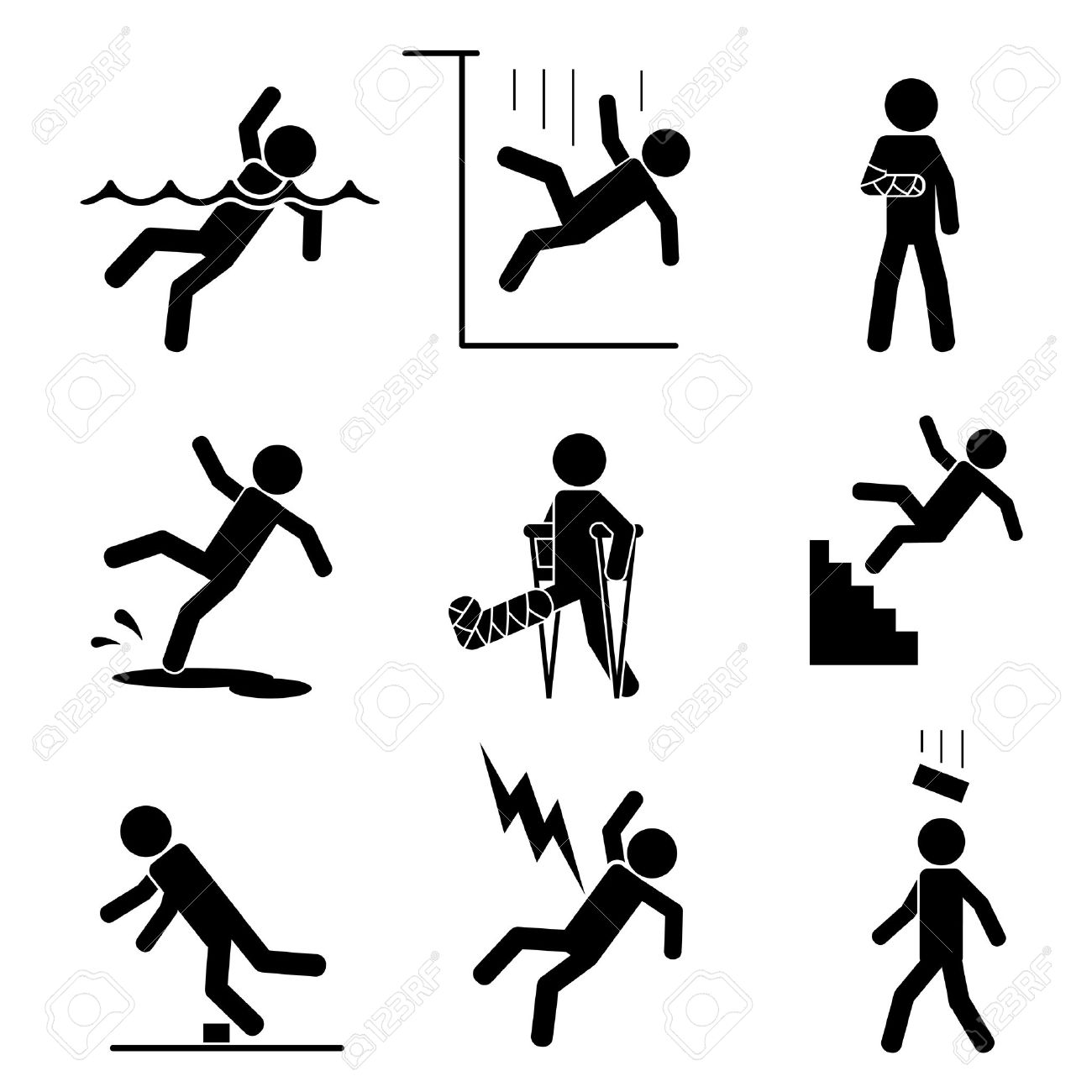 Safety and accident icons set. Trauma and brick on head, crutch and cling, slip and puddle, gypsum and fracture. Vector illustration - 41774643