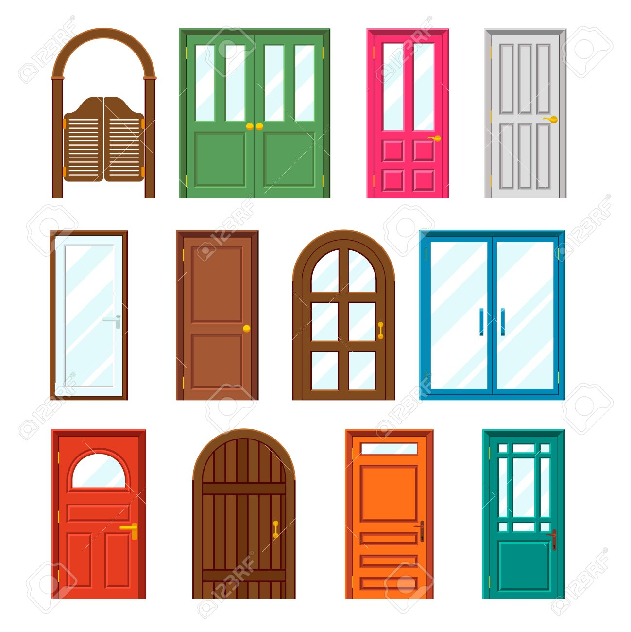 Conjunto De Edificios Puertas Delanteras En Estilo Diseño Plano ...