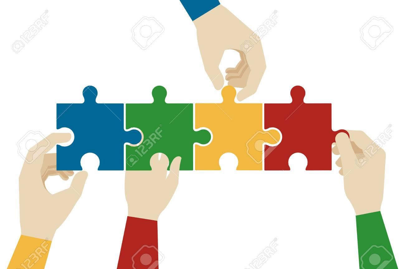 hands assembling jigsaw puzzle pieces teamwork connection idea