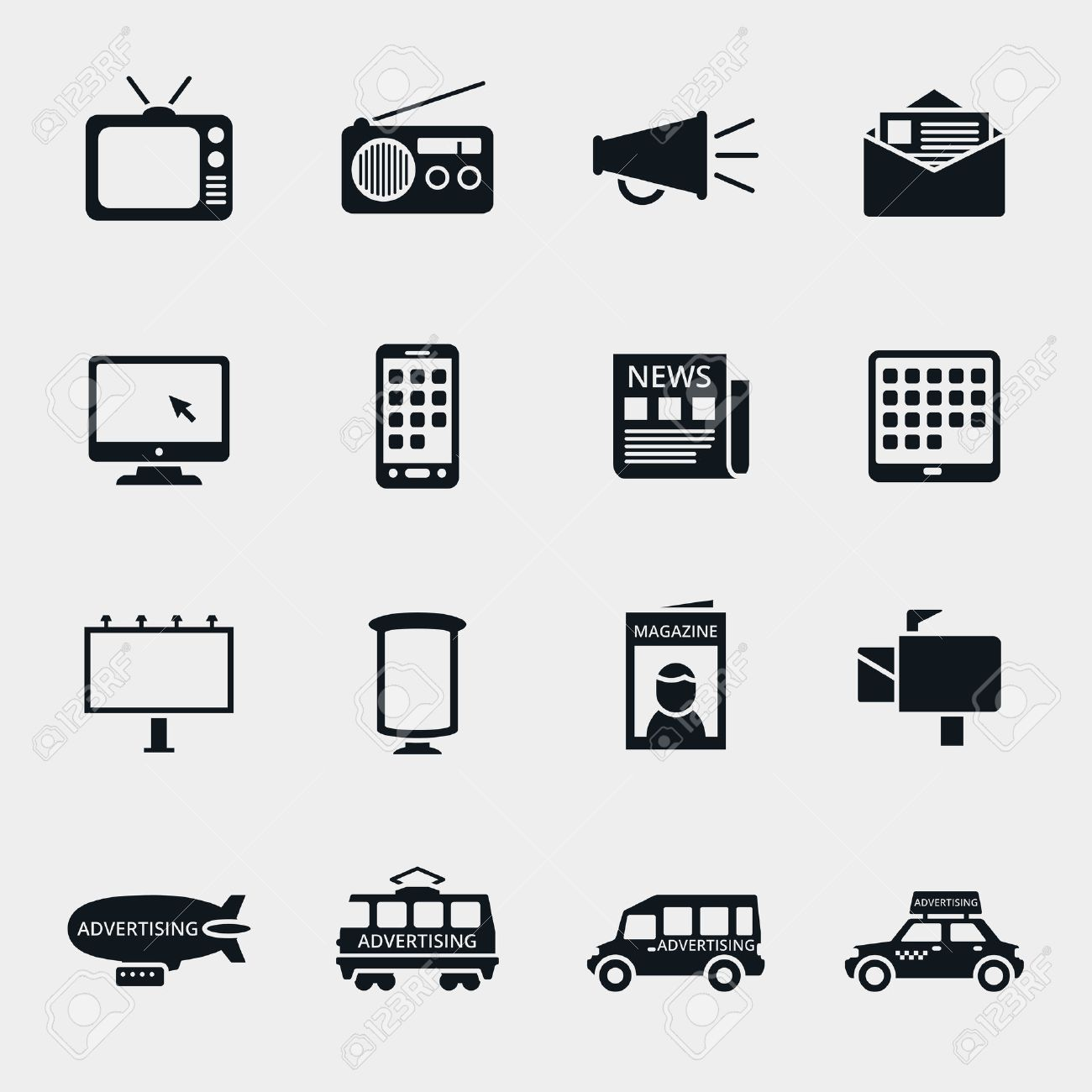 Vector advertising media silhouette icons set. Marketing and television, radio and internet, media content, multimedia market illustration - 41824733
