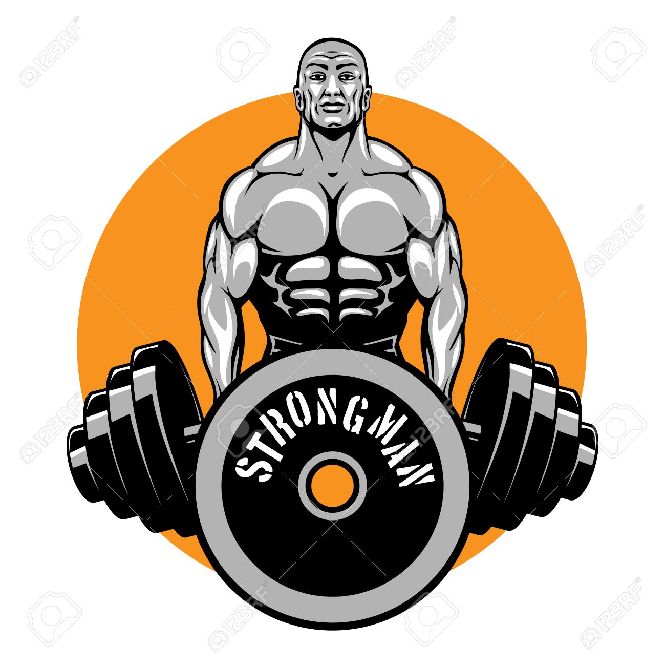 T Shirt Vector Design For Bodybuilders And Fitness Club Logo Or Emblem Sport