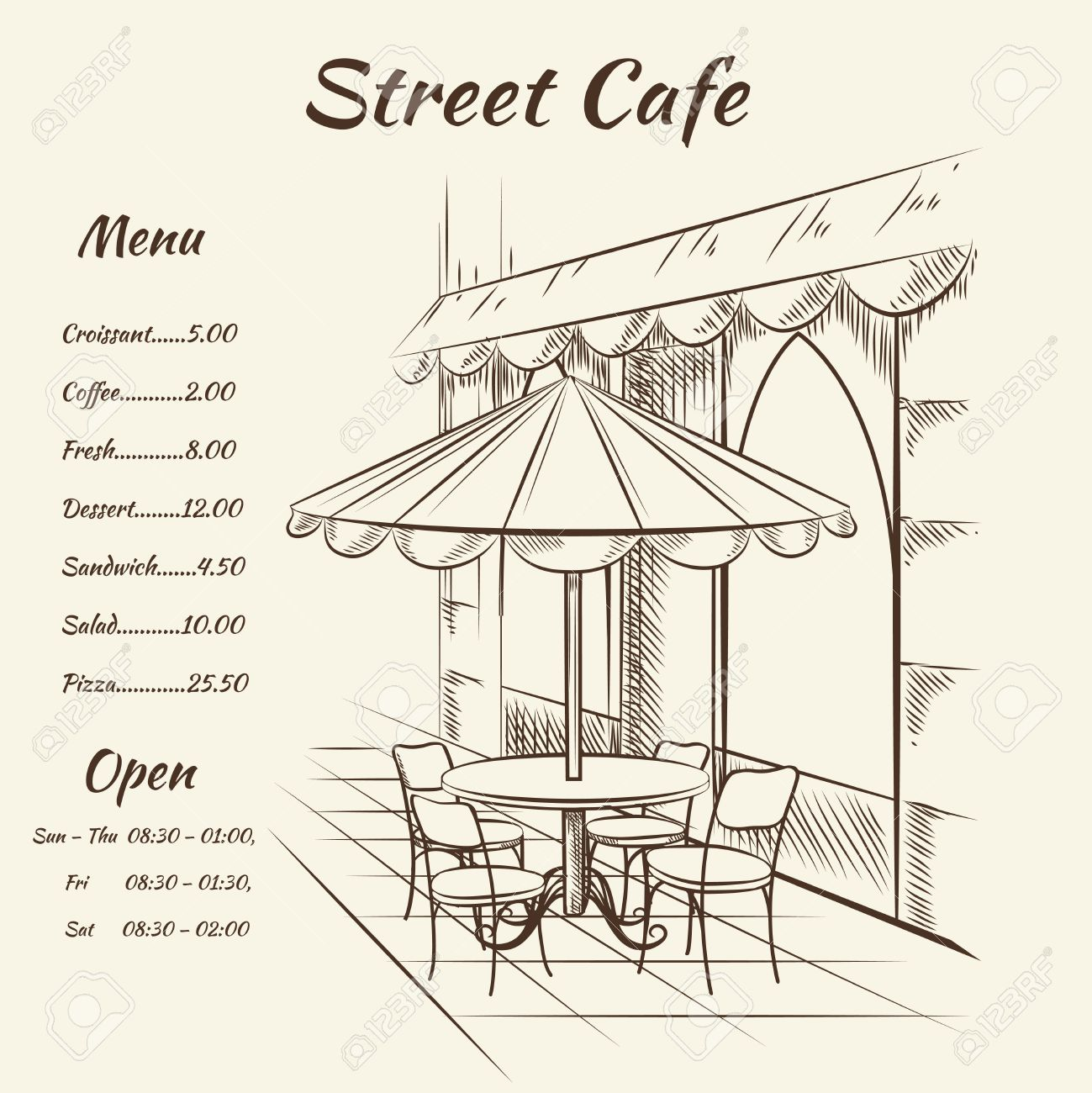 Hand Drawn Street Cafe Background Menu Design Sketch Restaurant Royalty Free Cliparts Vectors And Stock Illustration Image 41825080