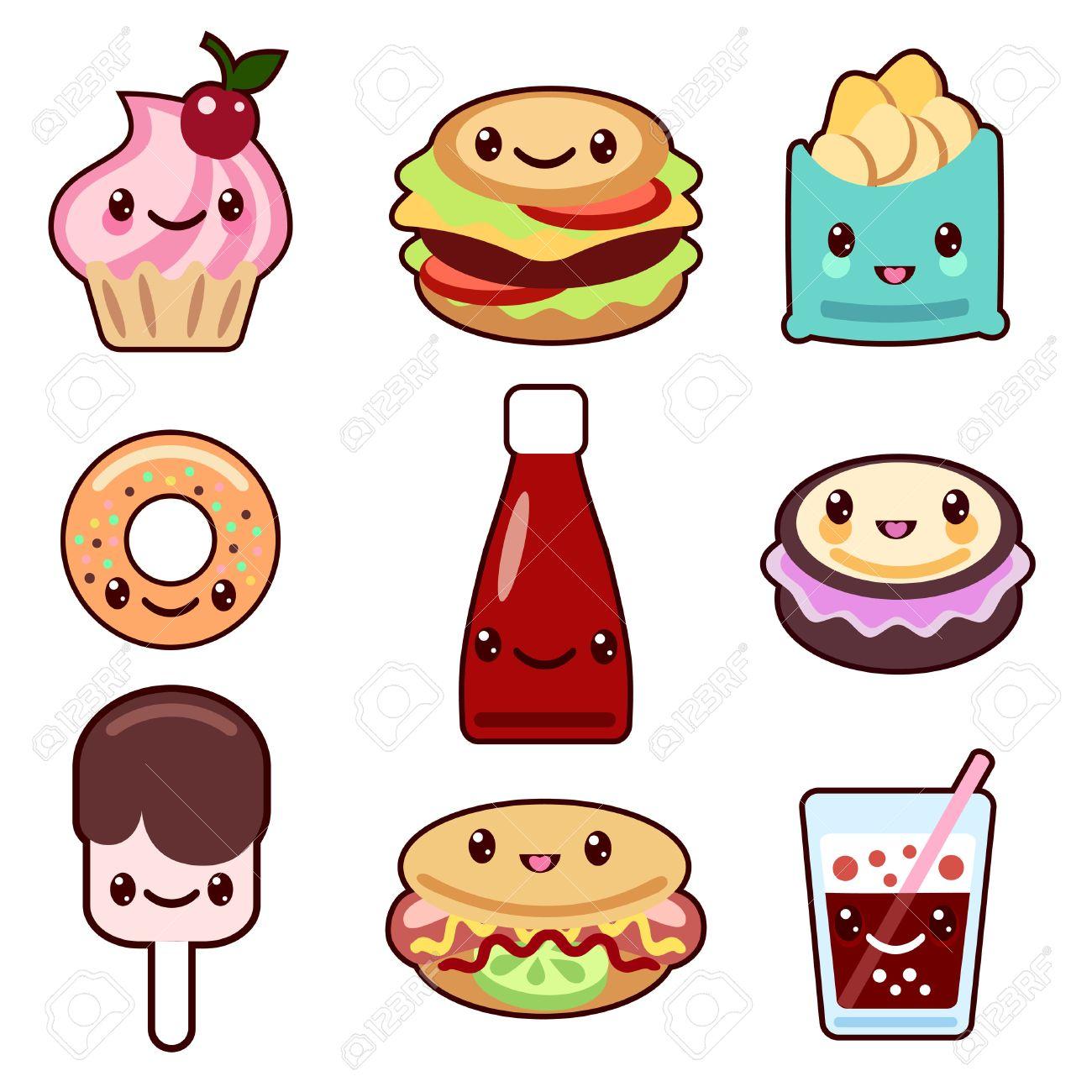 Conjunto De Vectores De Comida Rápida Y La Fruta Personajes Kawaii