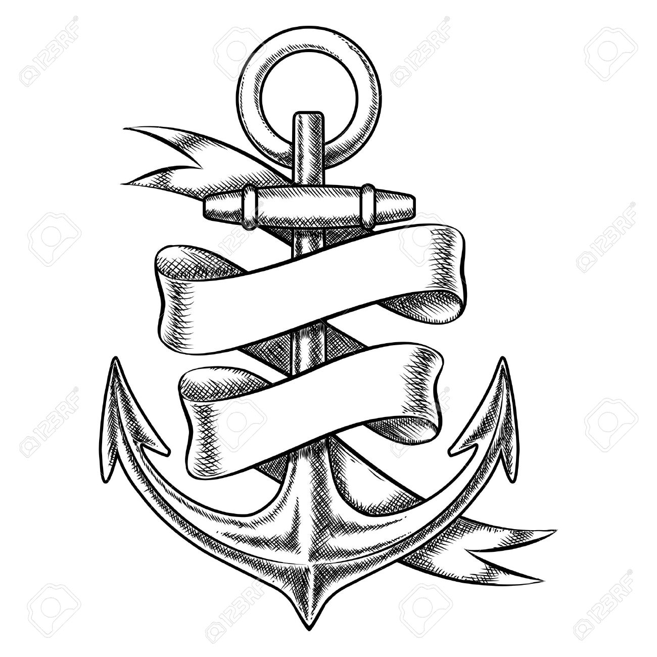 3281f2126 Vector - Vector hand drawn anchor sketch with blank ribbon. Nautical  isolated object, vintage marine tattoo illustration