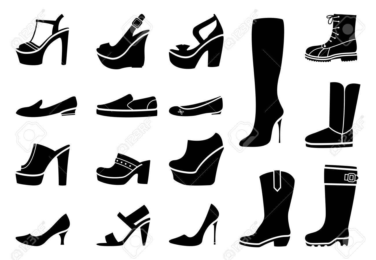 女性靴のアイコンを設定しますファッションかかと靴およびブート