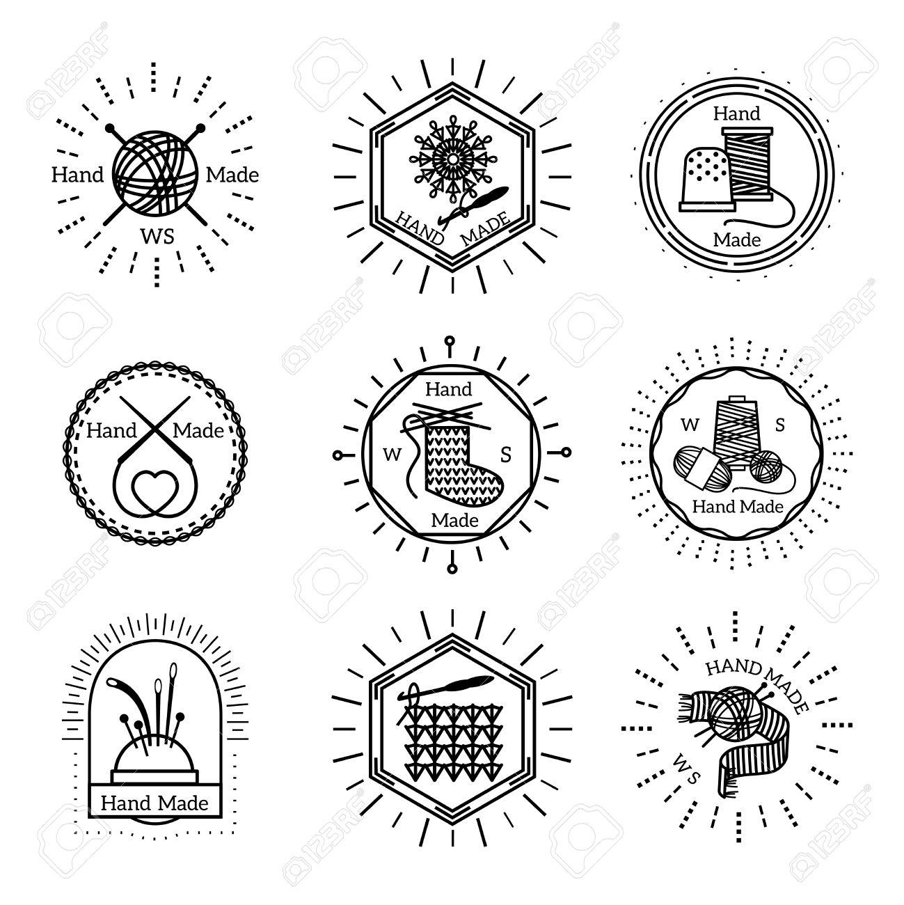 Insignias Hechas A Mano De La Vendimia Y El Logotipo Conjunto. Coser ...