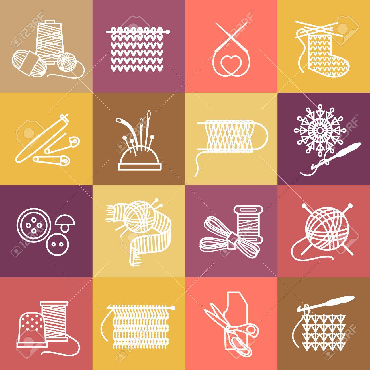 Knitting Symbole Gesetzt. Themen-und Nähen, Nadel Und Sticken ...